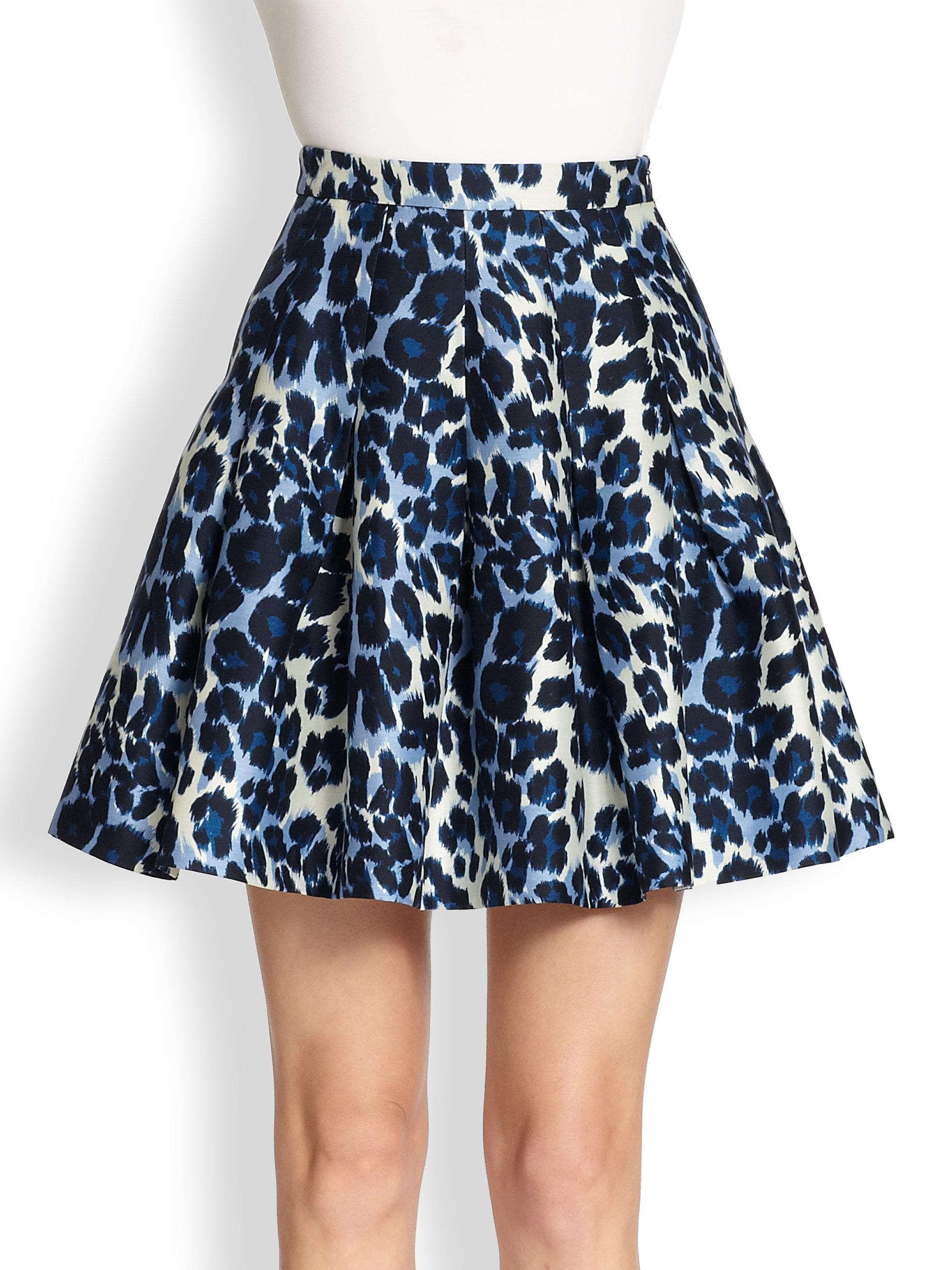 diane furstenberg gemma leopard print pleated skirt in