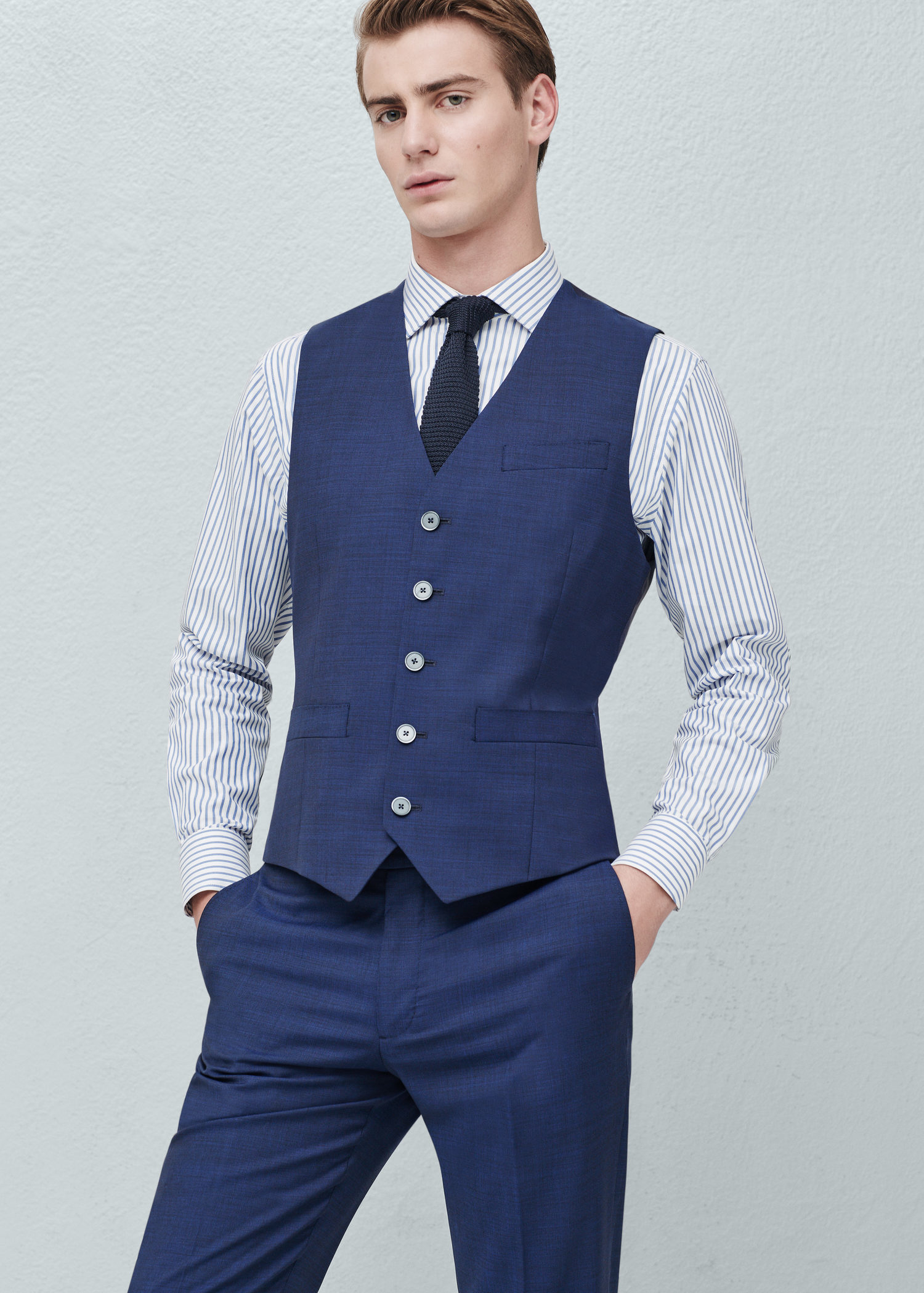 Mango Check Wool-blend Suit Waistcoat in Blue for Men | Lyst