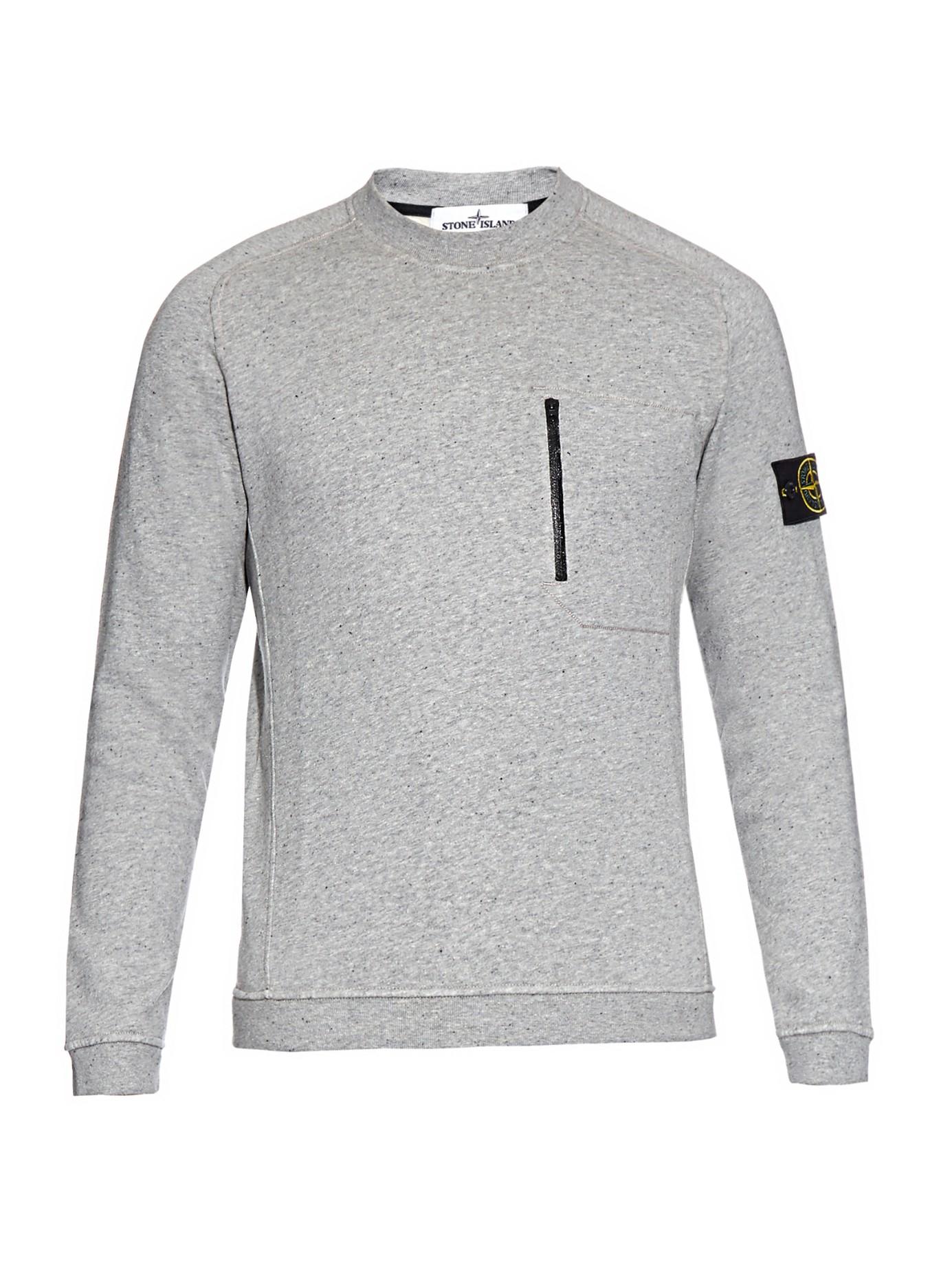 Stone island Zip-pocket Cotton-fleece Sweatshirt in Gray for Men ...