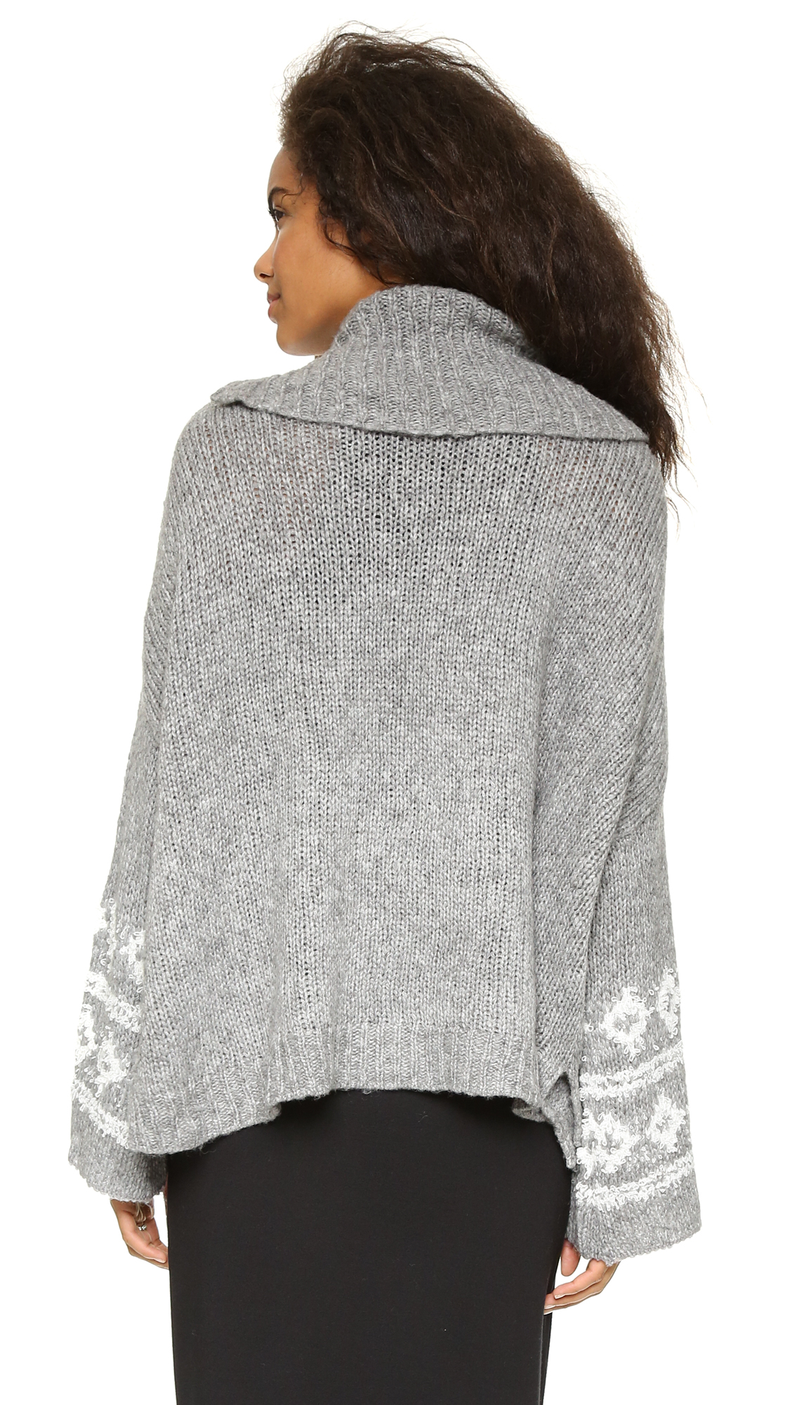 fb290ffd4 Lyst - Free People Fair Isle Split Neck Sweater - Charcoal ivory in Gray