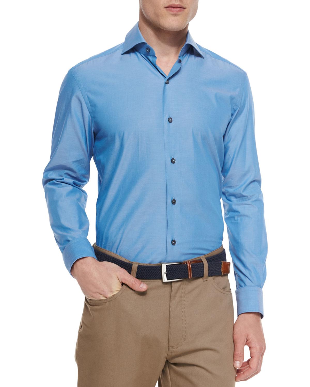 ermenegildo zegna solid chambray sport shirt in blue for men lyst. Black Bedroom Furniture Sets. Home Design Ideas
