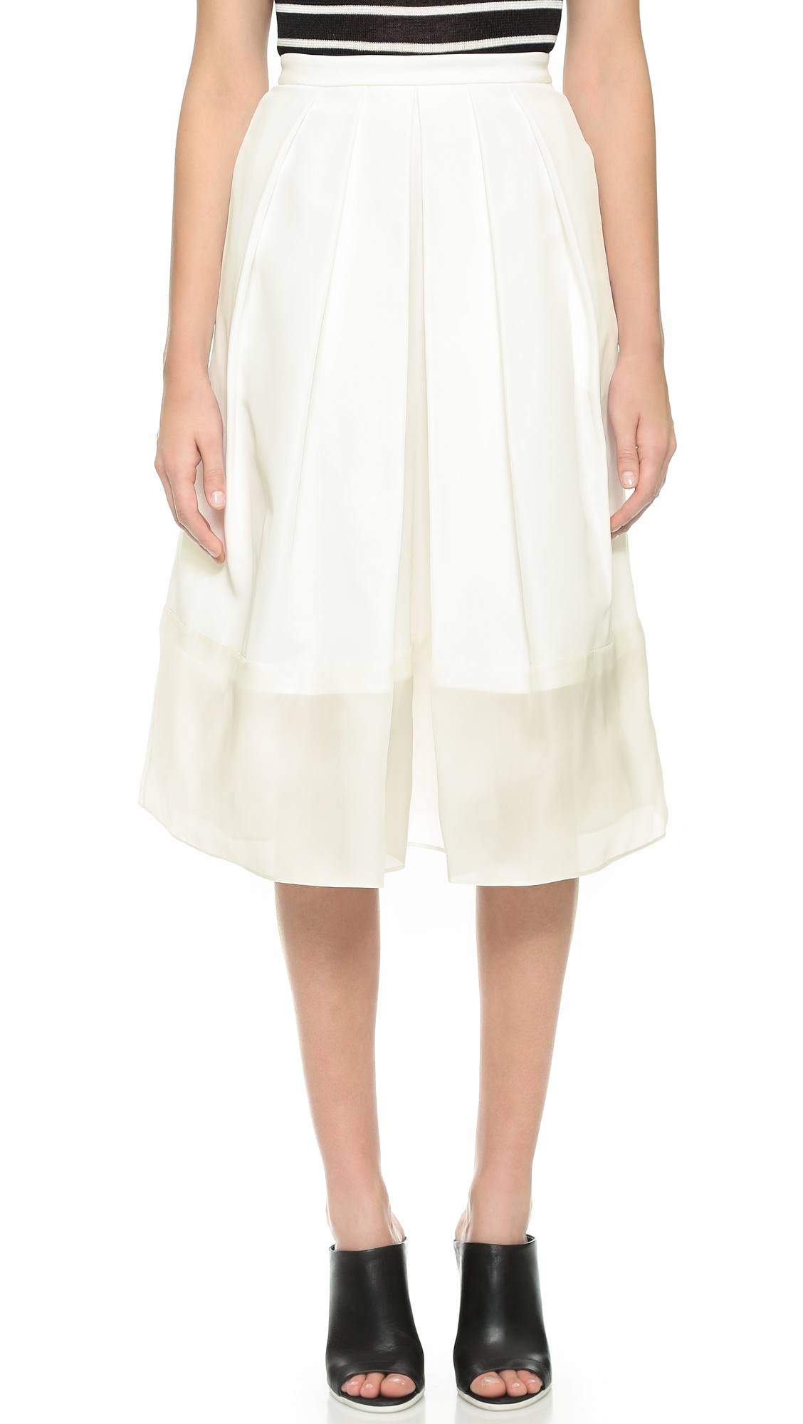 tibi pleated skirt with organza panel ivory in white lyst