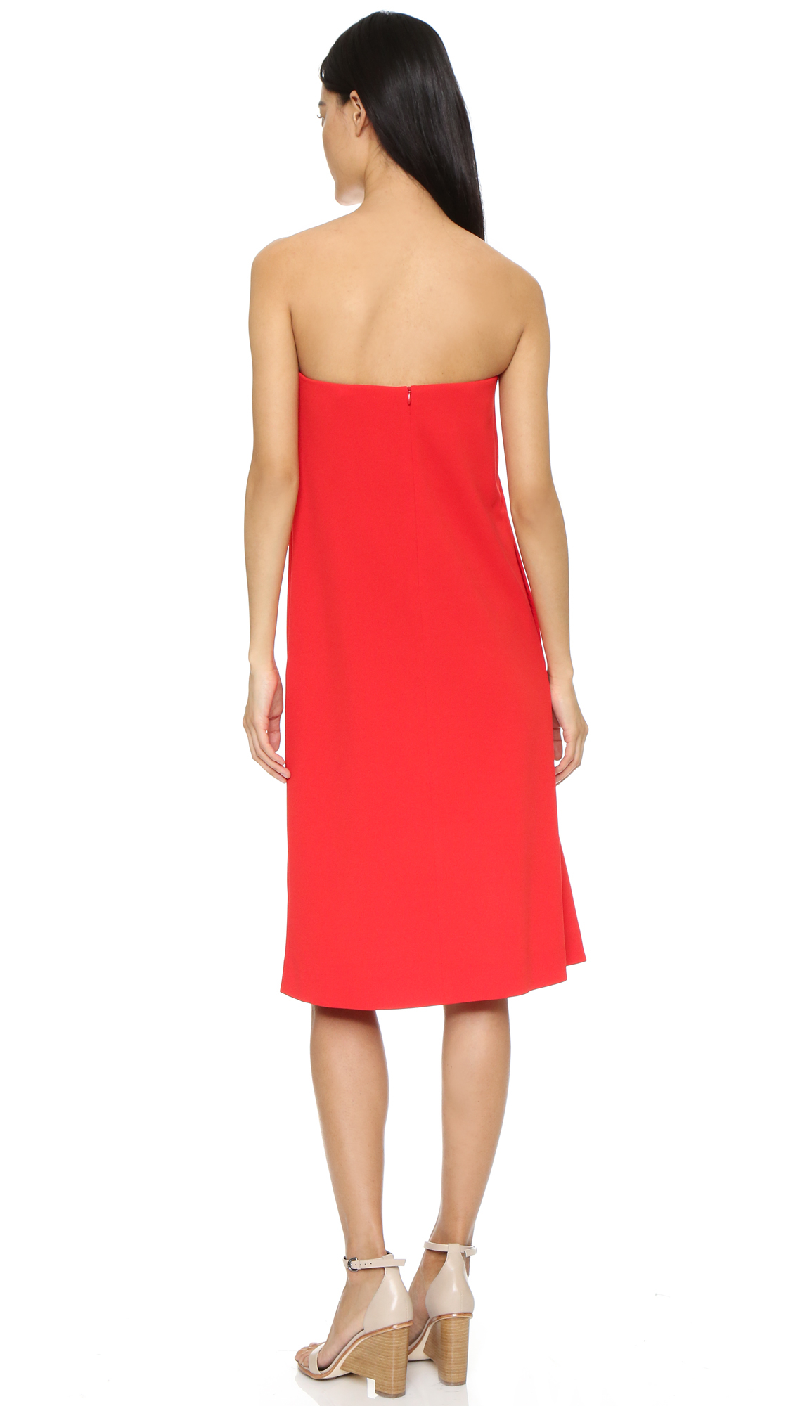 Tibi Structured Strapless Dress in Red - Lyst