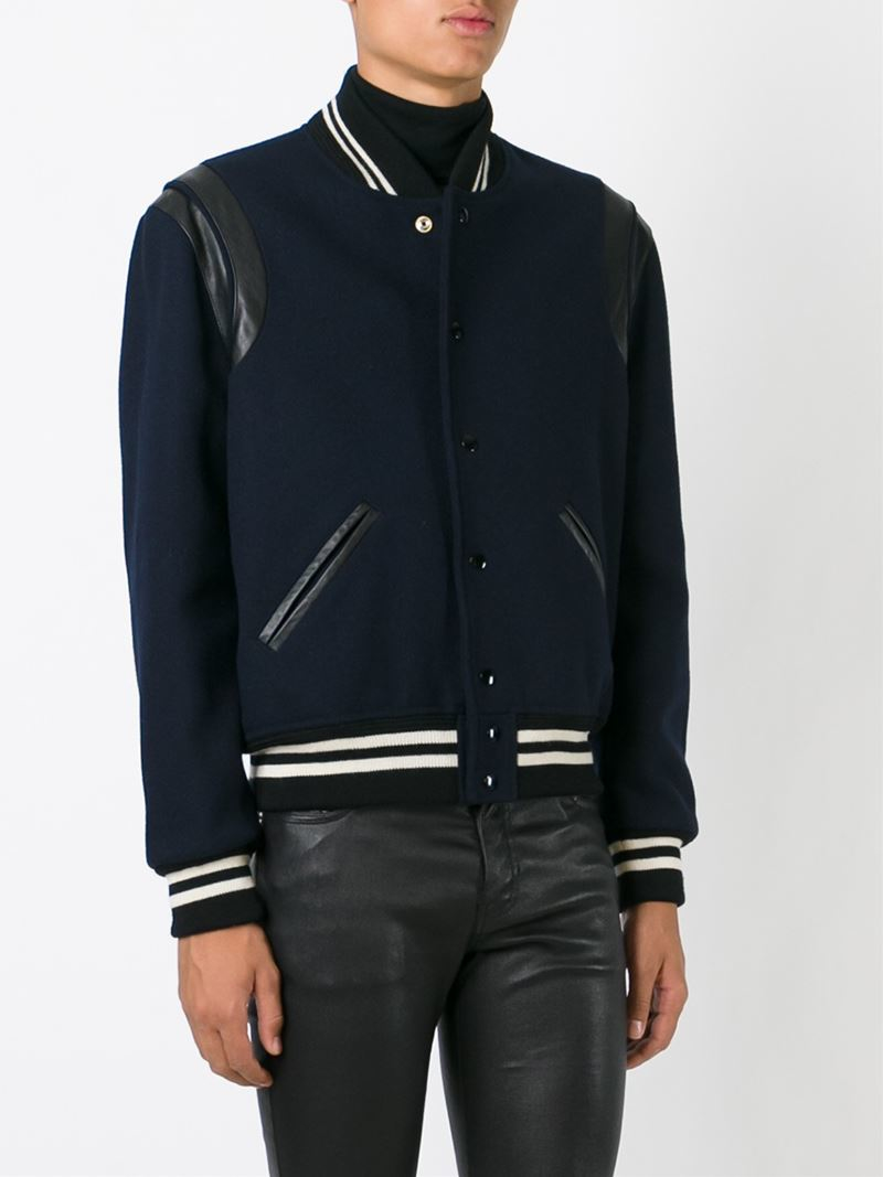 Saint Laurent Classic Teddy Jacket In Blue For Men Lyst