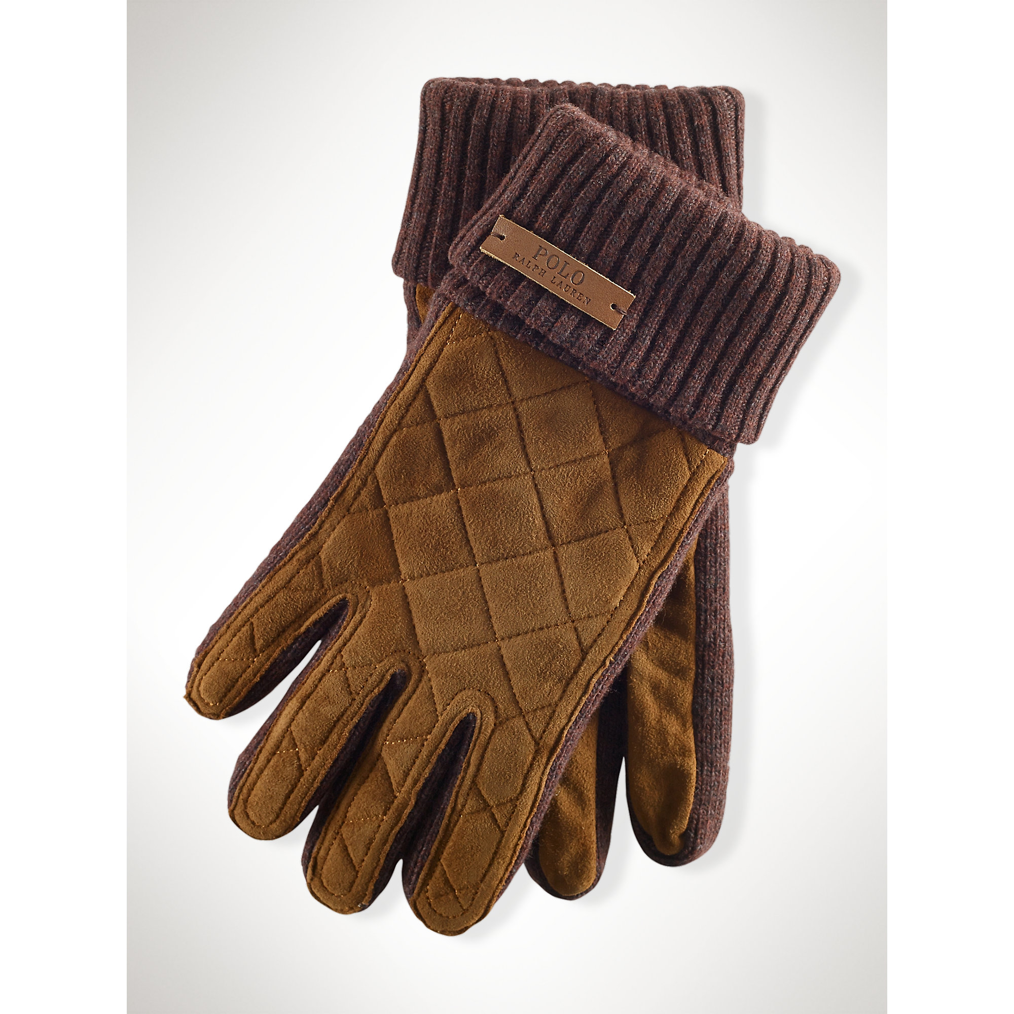 Lyst - Polo ralph lauren Quilted Suede Gloves in Brown for Men : quilted racing gloves - Adamdwight.com