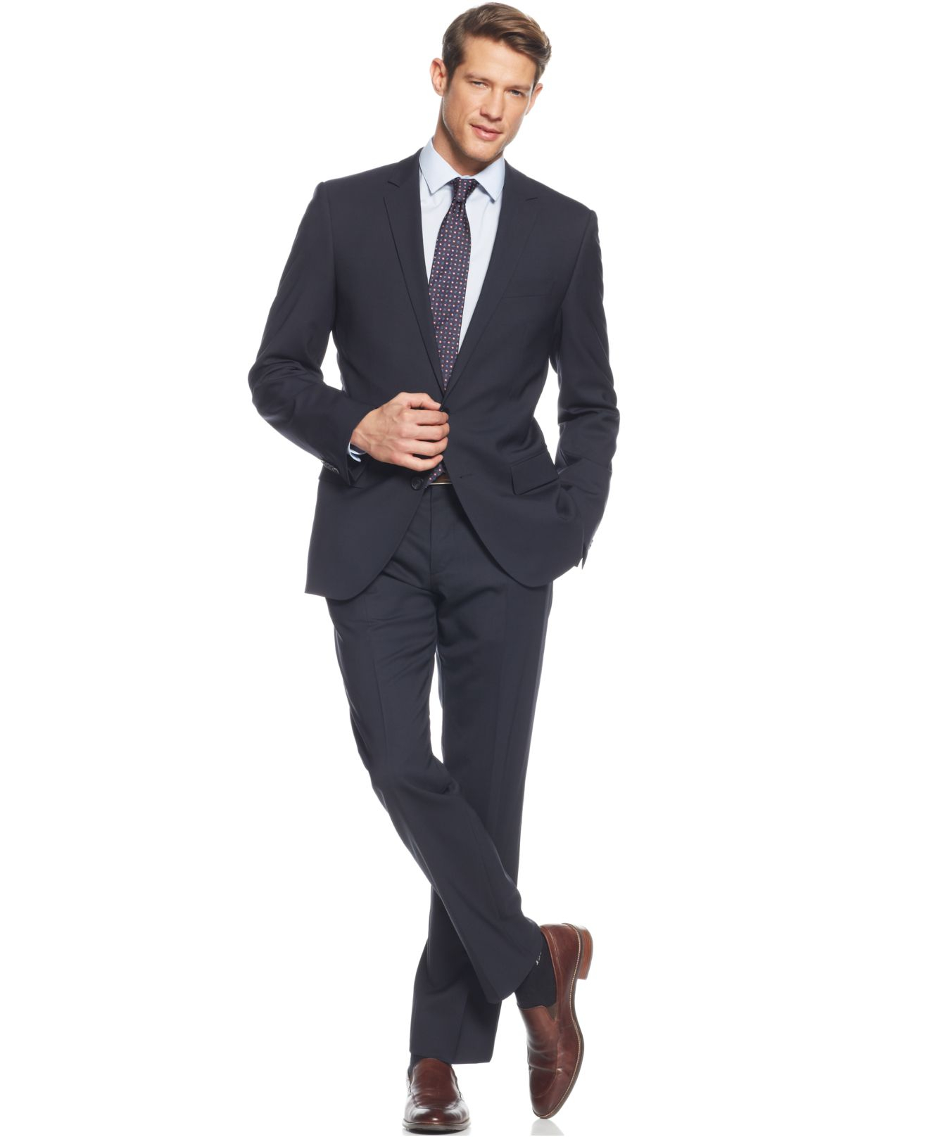 lyst boss boss navy solid jam sharp extra slim fit suit. Black Bedroom Furniture Sets. Home Design Ideas