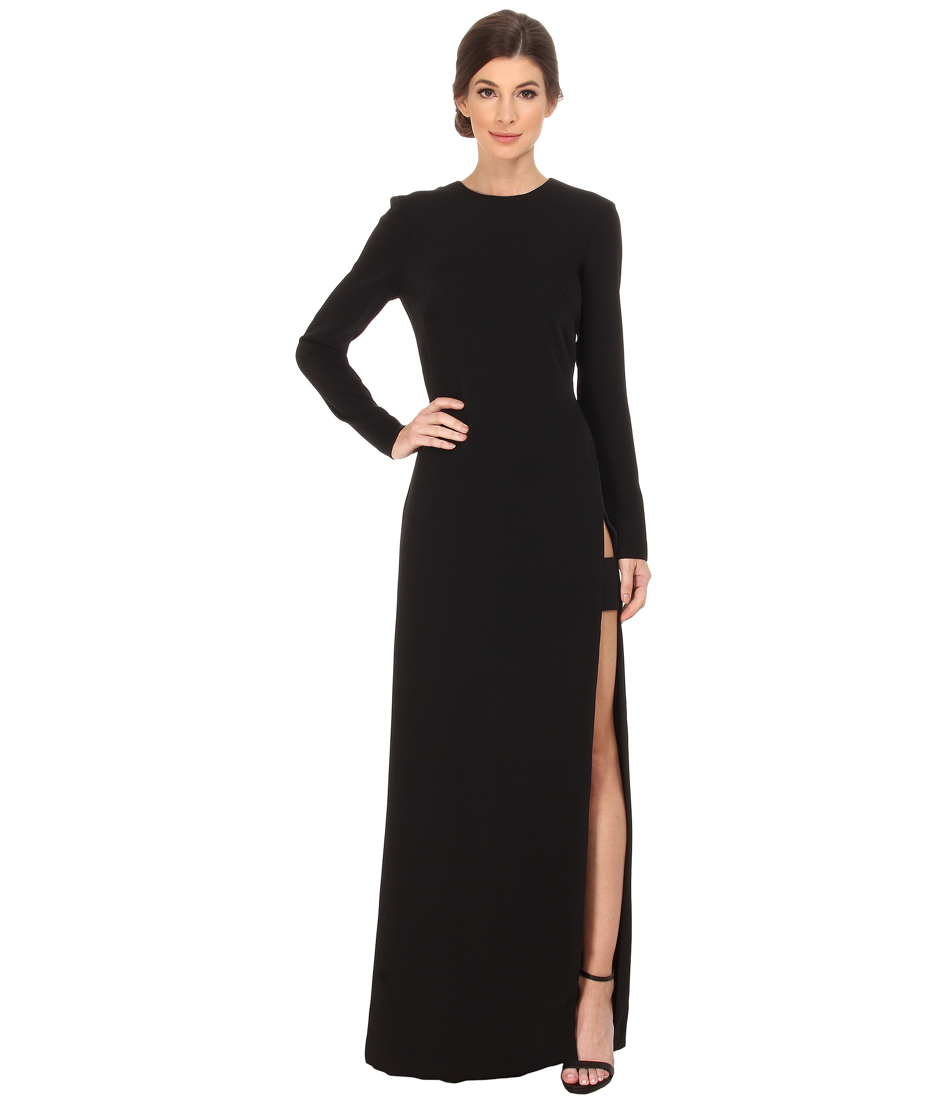 Lyst - Jill Jill Stuart Long Sleeve High Side Slit Gown in Black
