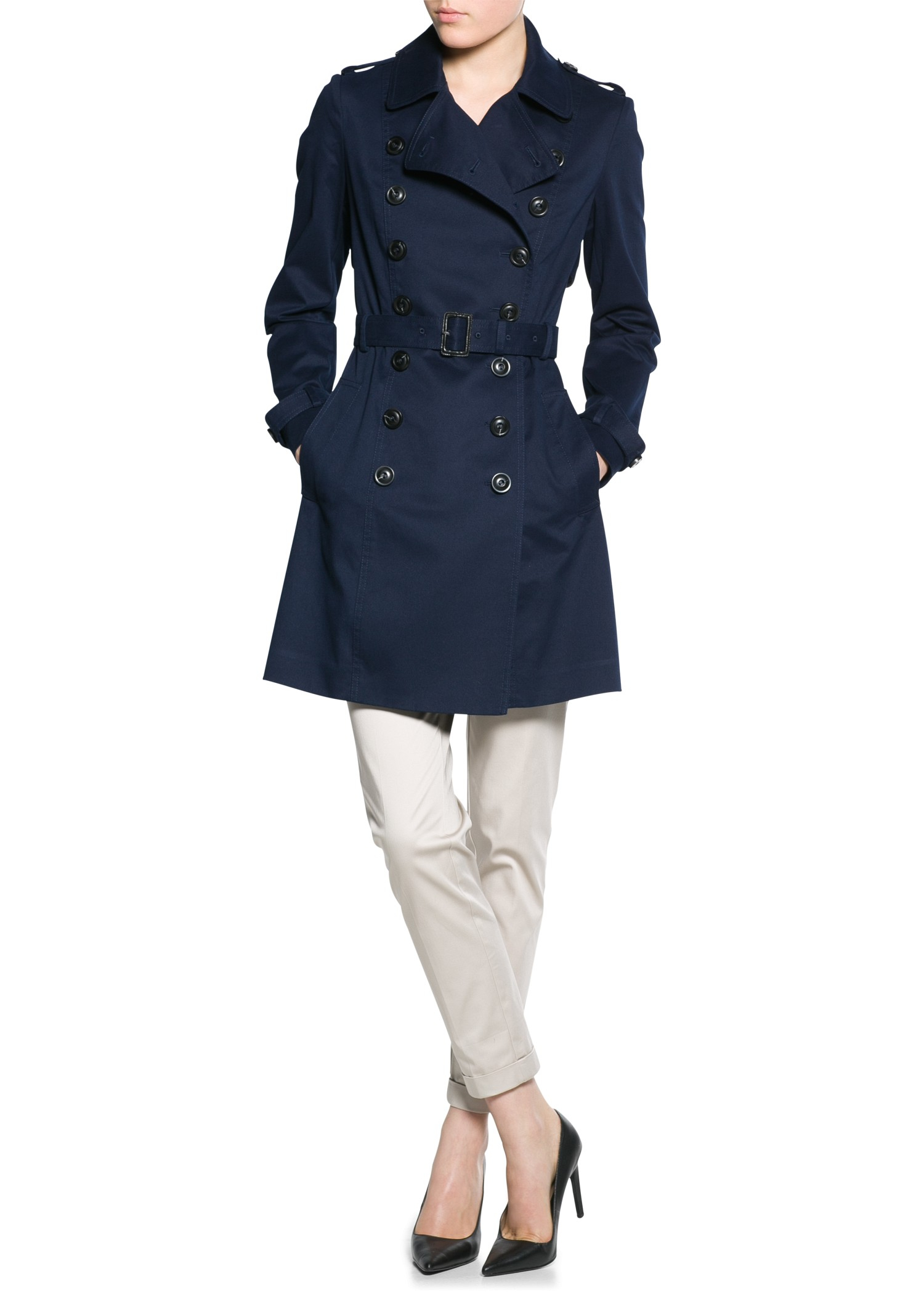 Blue trench coat women
