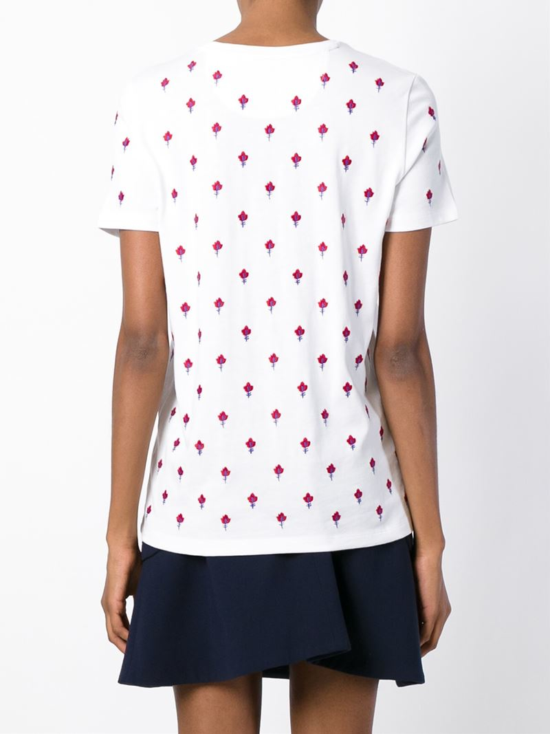 Tory burch floral embroidered t shirt in white lyst for Tory burch t shirt