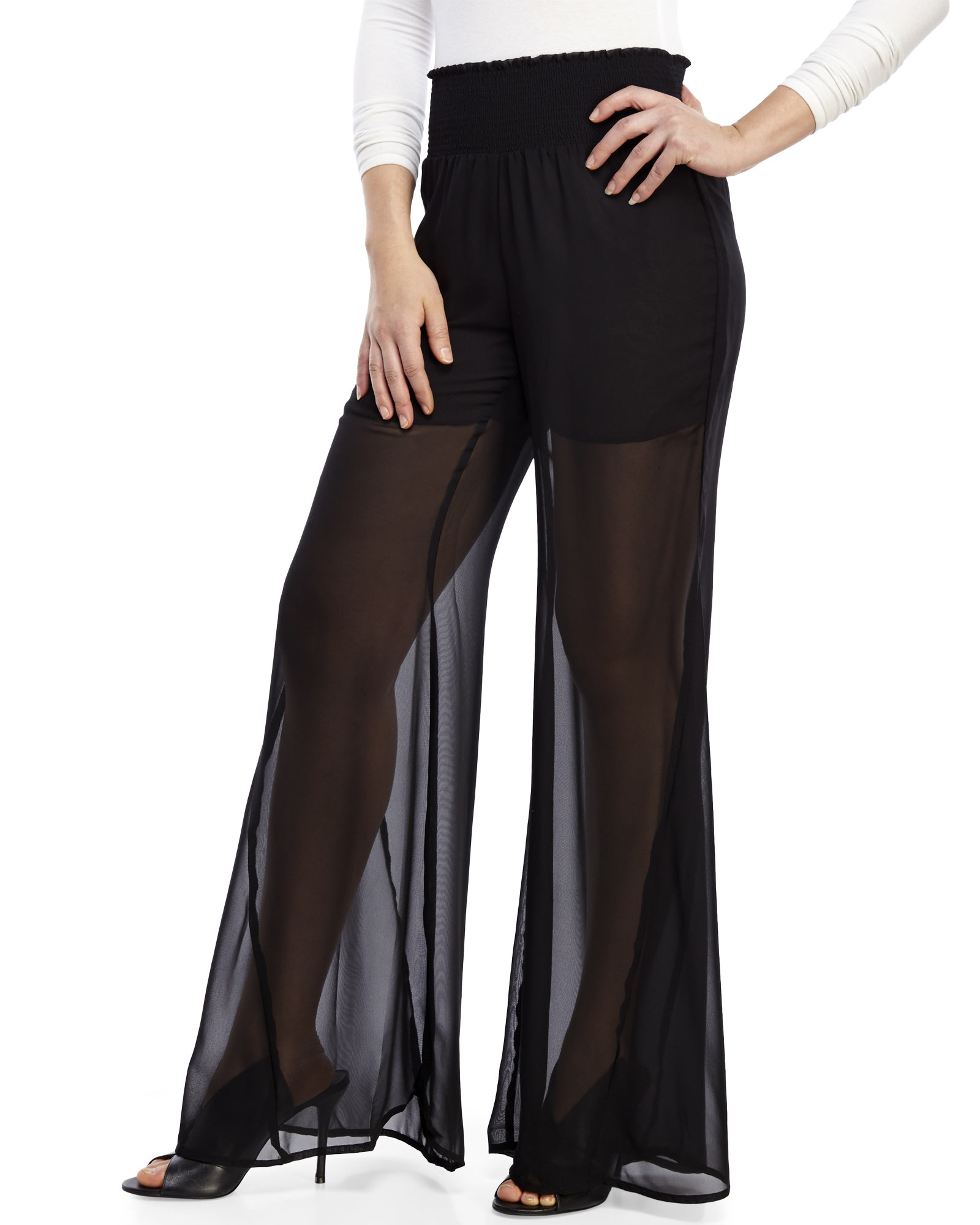 Philosophy Sheer Wide Leg Pants in Black | Lyst