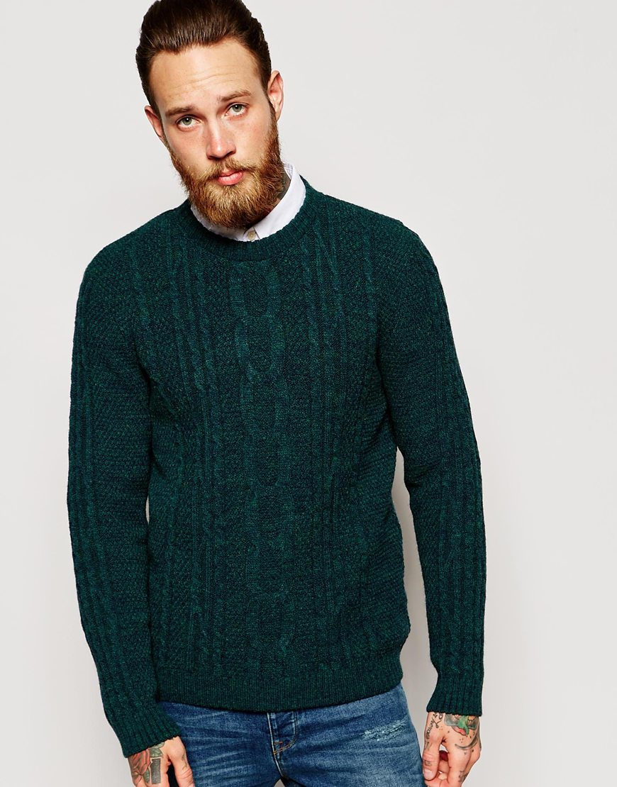 Asos Cable Knit Jumper In Green in Green for Men | Lyst