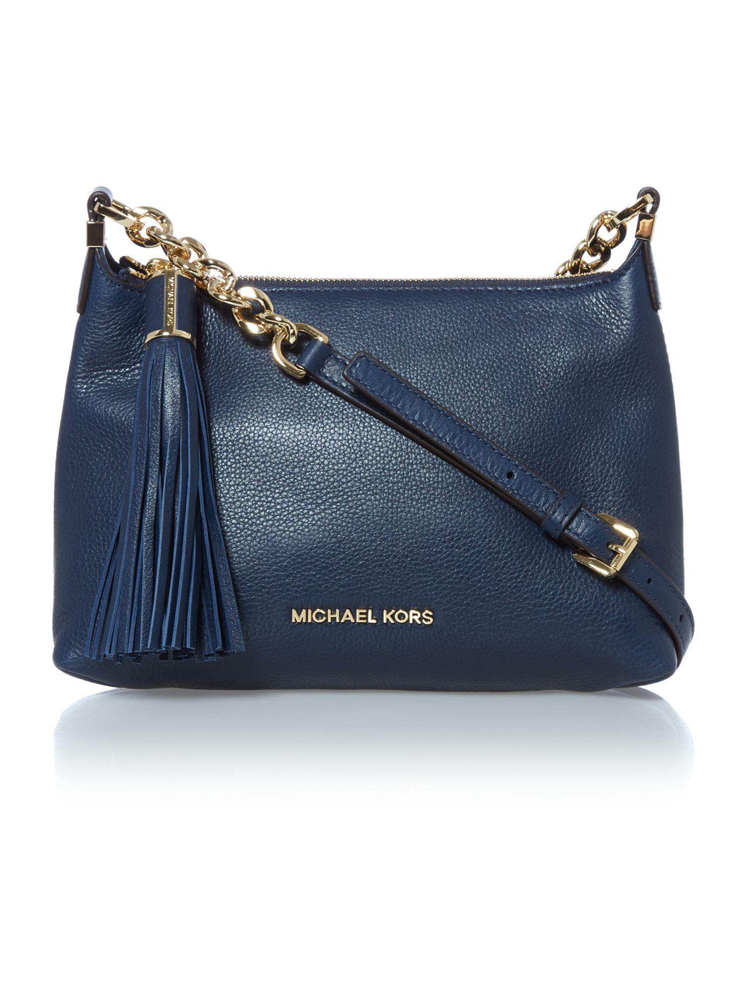 michael kors weston navy zip top cross body bag in blue
