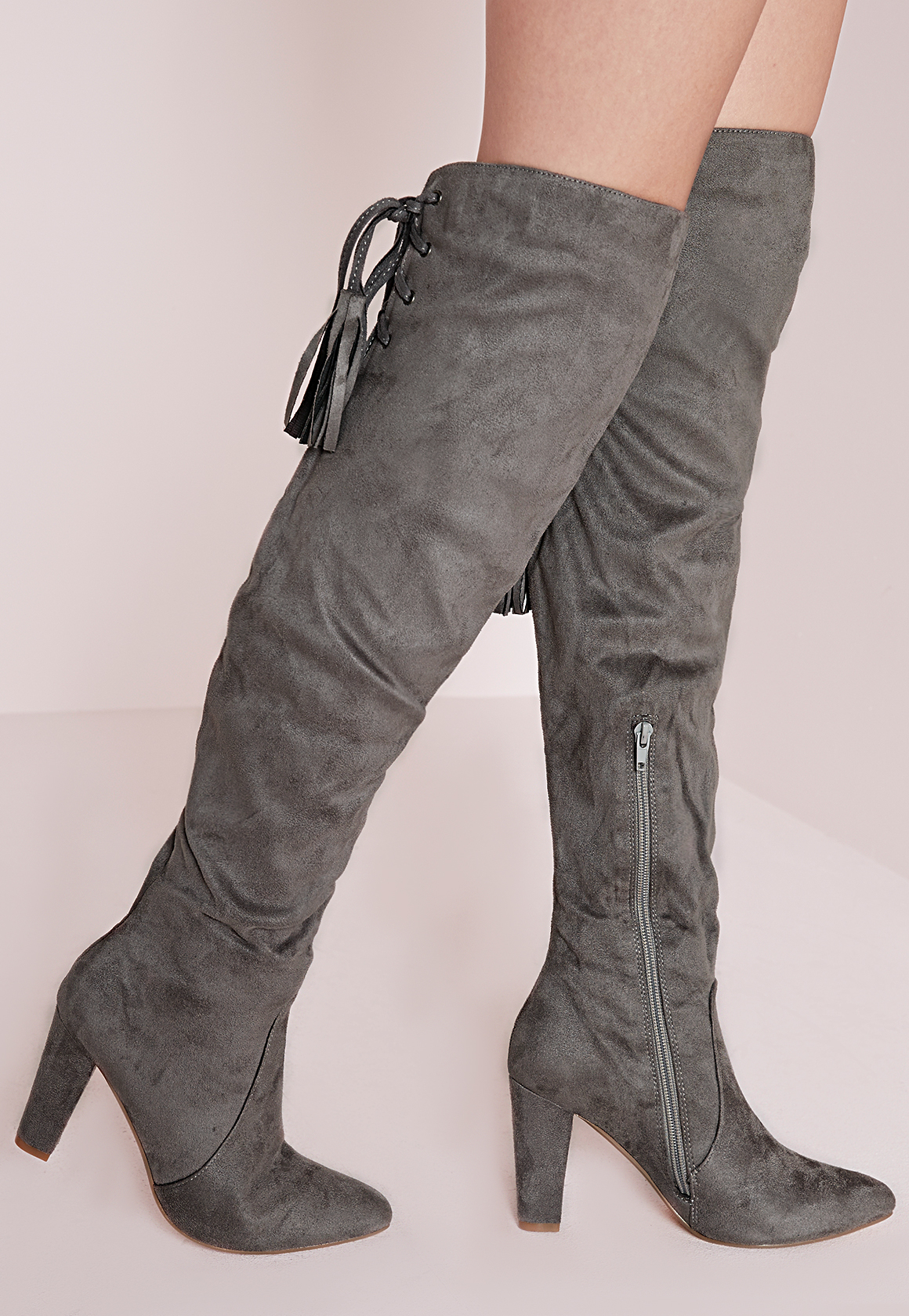 missguided heeled knee high tie back boots grey in gray lyst