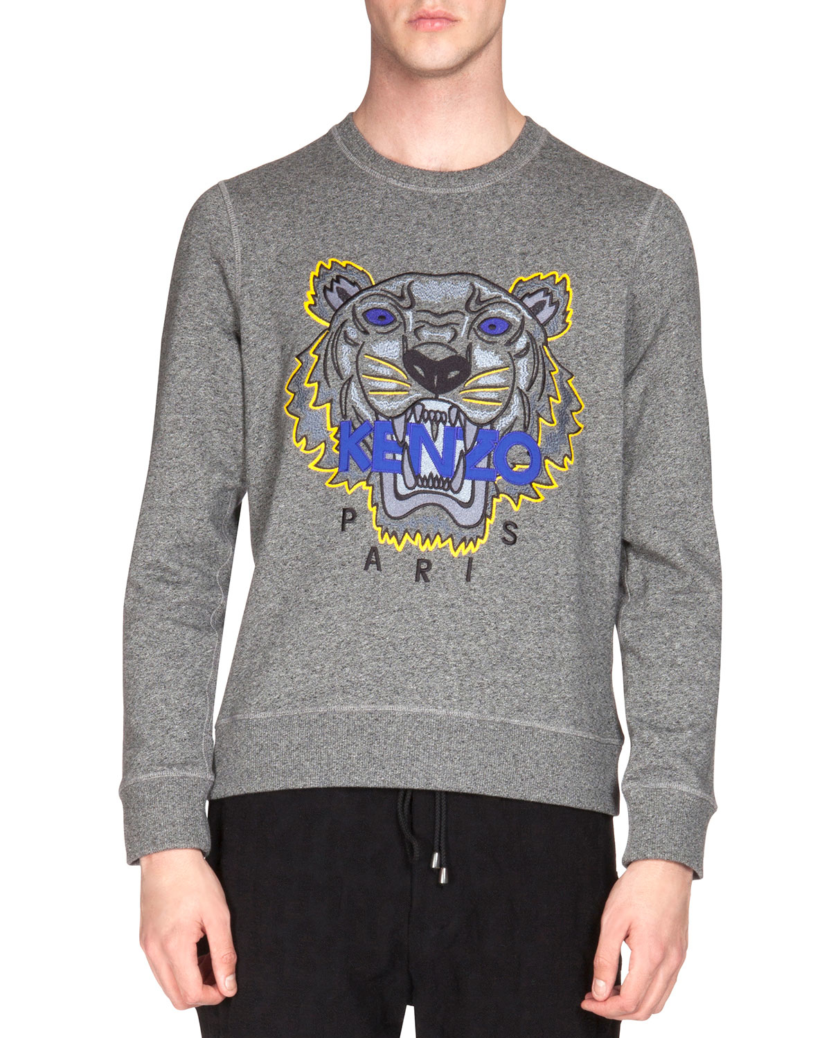 Kenzo Embroidered Tiger Icon Crewneck Sweatshirt in Gray for Men ...