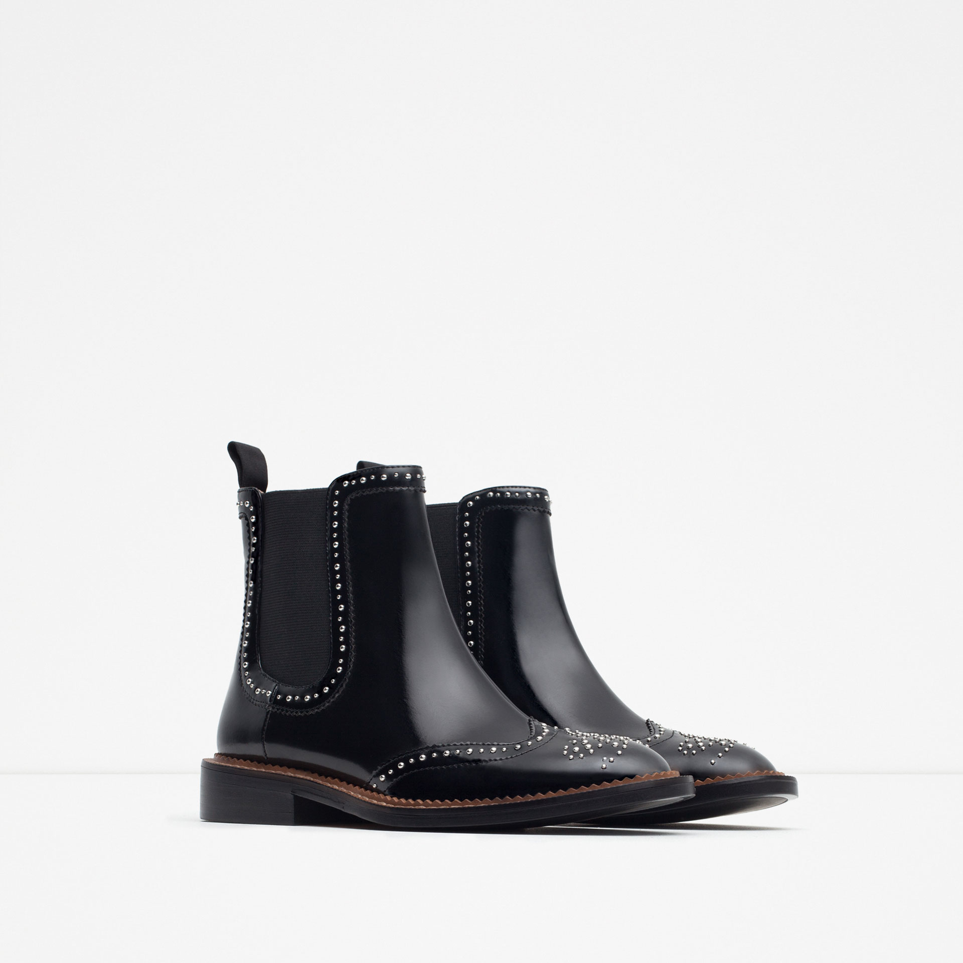 Zara Micro-studded Flat Leather Booties in Black | Lyst Kate Hudson Activewear