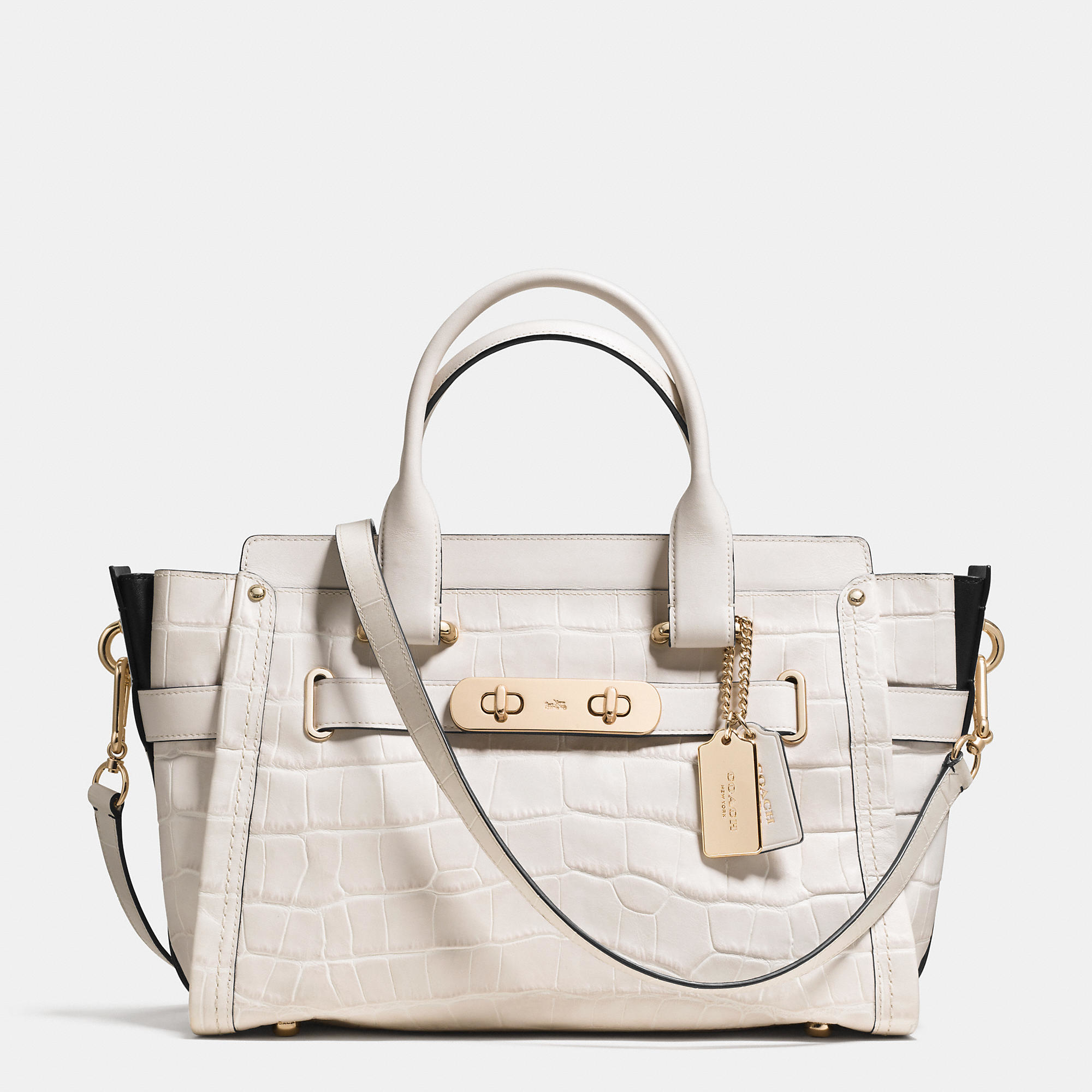 Lyst Coach Swagger In Croc Embossed Leather In Metallic