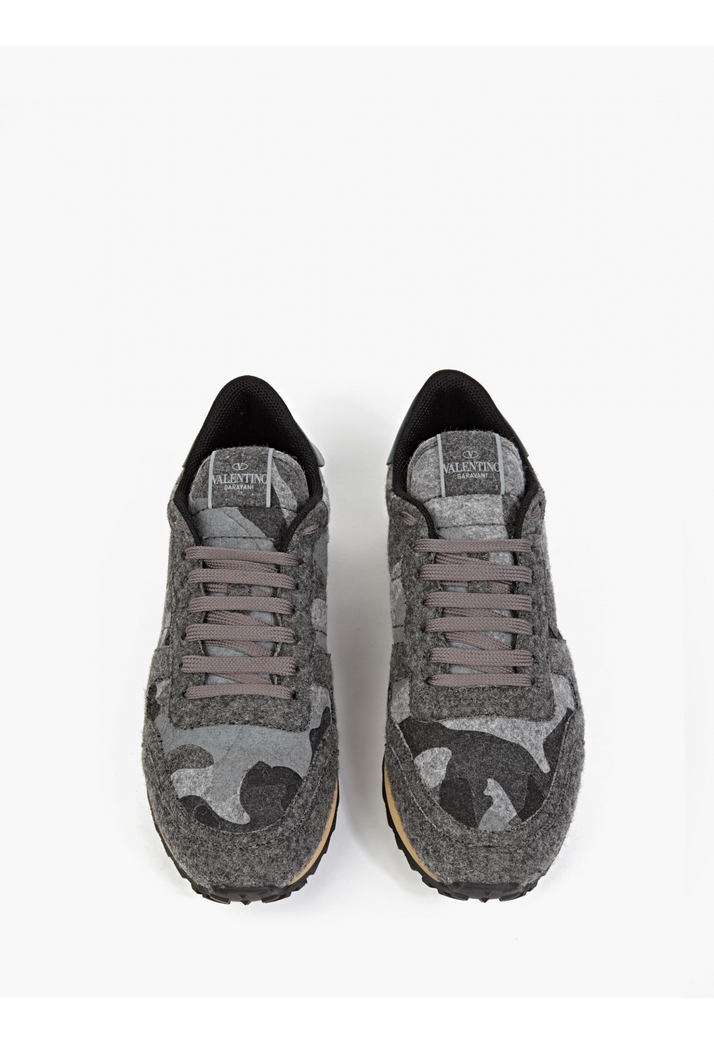 valentino grey felt camouflage sneakers in gray for men lyst. Black Bedroom Furniture Sets. Home Design Ideas