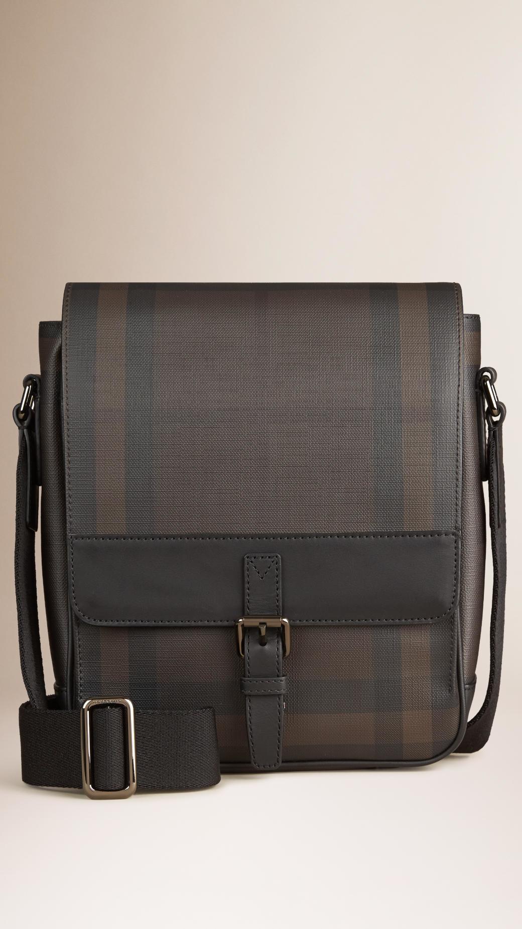 b14df5b17 Burberry Smoked Check Crossbody Bag in Black for Men - Lyst