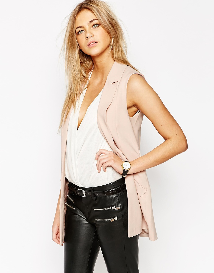 1fe516fd590d0 Lyst - Oasis Sleeveless Jacket - Nude in Pink
