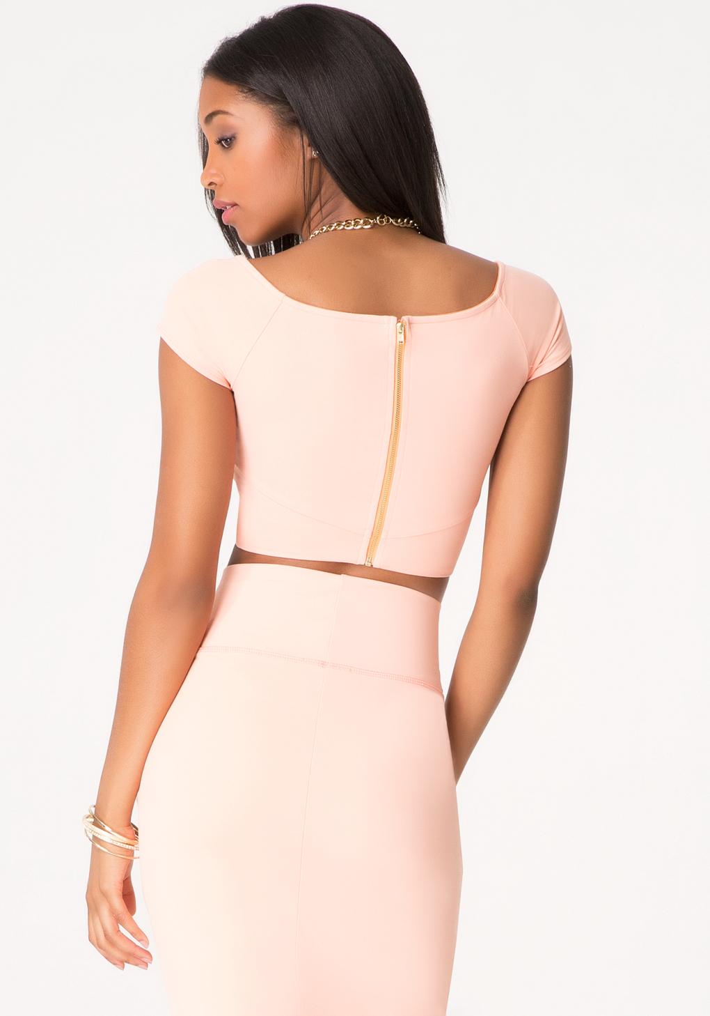 30f82d68a26dd5 Bebe Off Shoulder Wrap Crop Top in Pink - Lyst