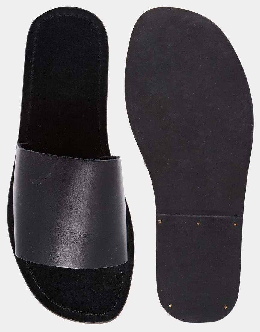 Asos Slide Sandals In Leather In Black For Men Lyst