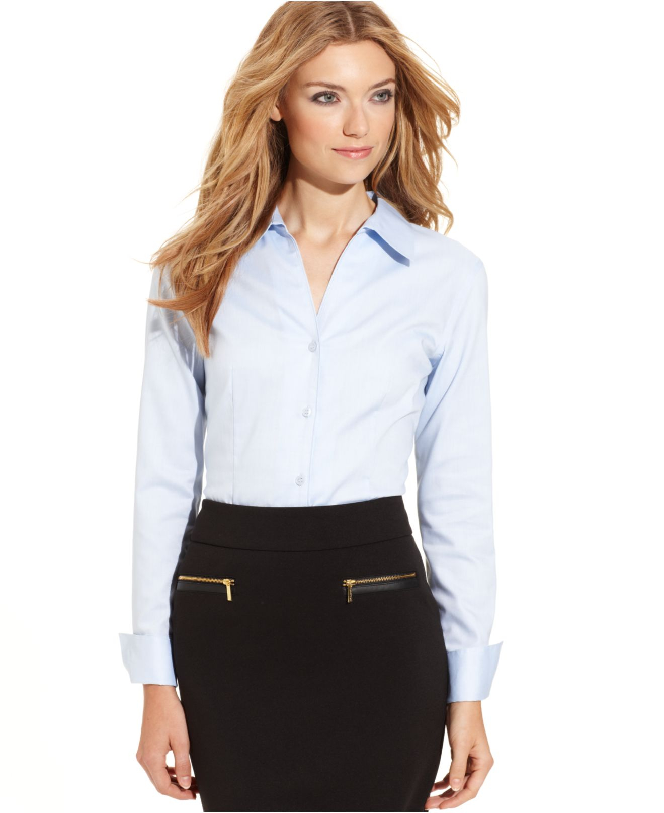 Calvin Klein Fitted Button Front Shirt In Blue Lyst