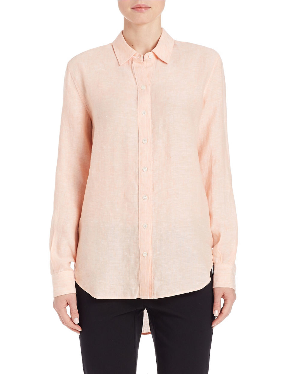 Lord Taylor Linen Hi Low Casual Shirt In Pink Lyst