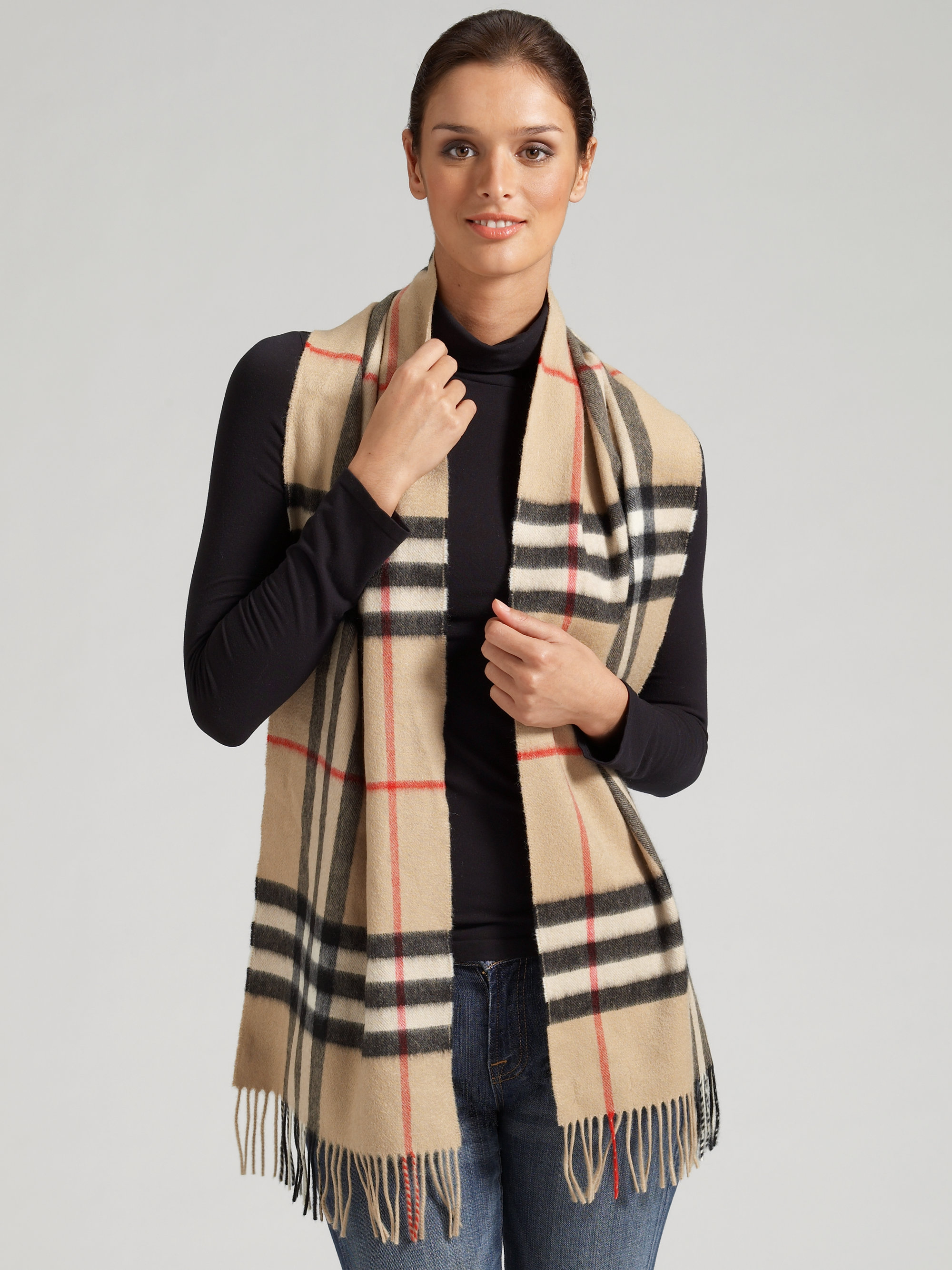 06b7400f95 ireland lyst burberry giant check cashmere scarf in brown 33802 86d0d