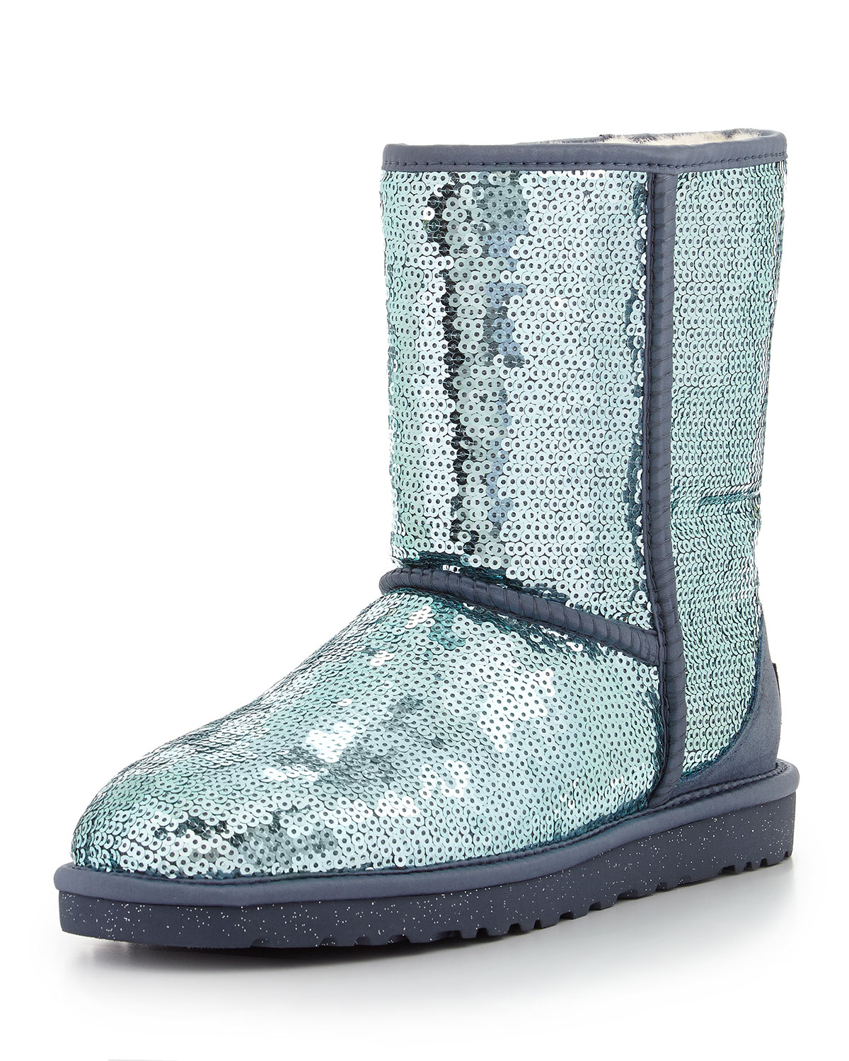 ugg sparkles sequin boot in blue dolphin blue lyst