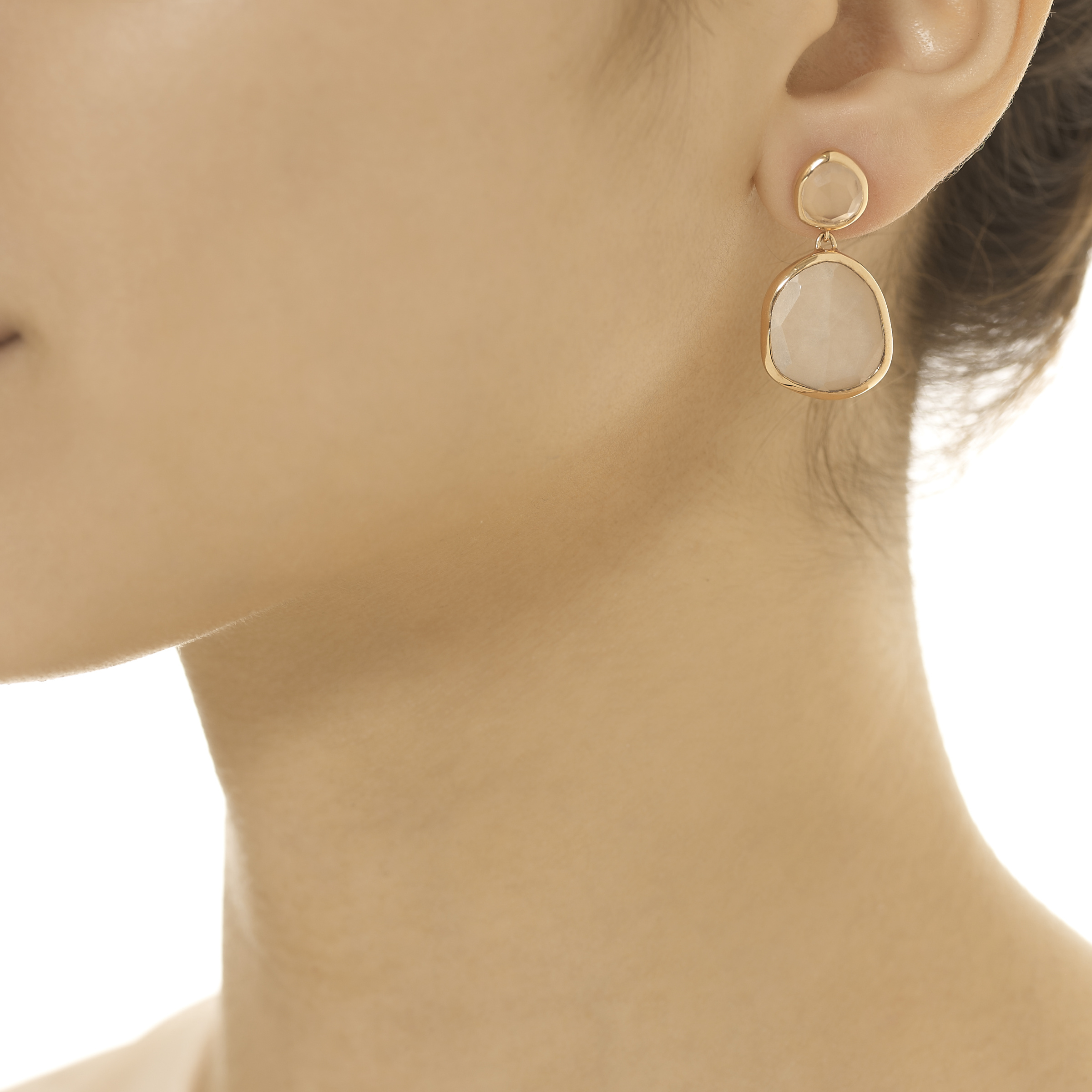 Rose Gold Siren Large Nugget Earrings Pink Quartz Monica Vinader UPC7sU