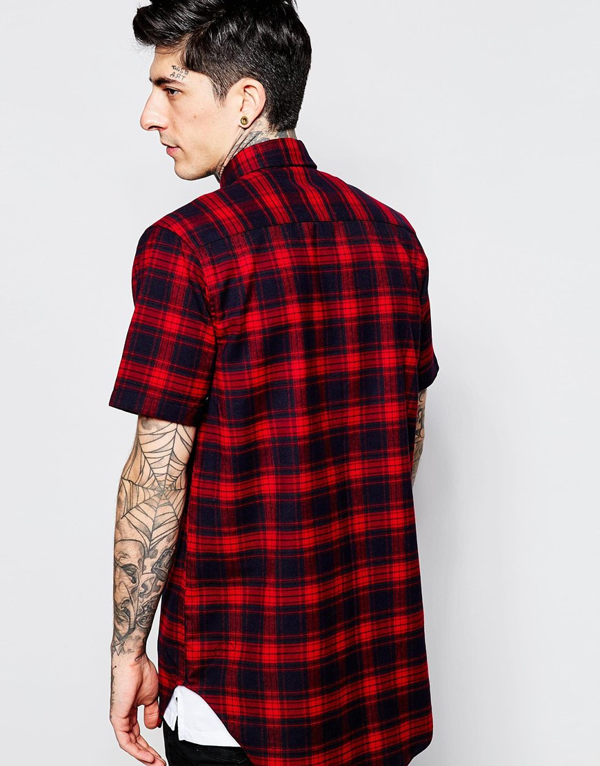 Lyst asos check shirt in flannel with short sleeve for Short sleeved shirts for men