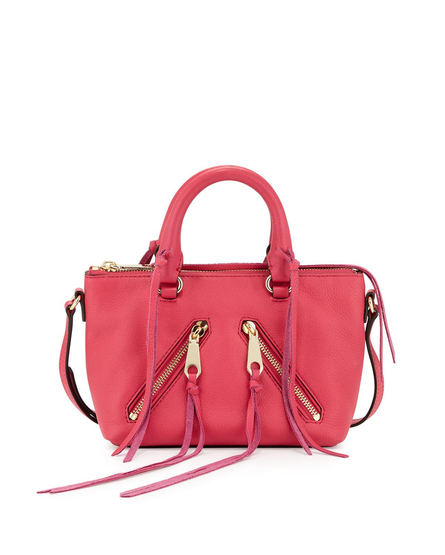 Lyst - Rebecca Minkoff Micro Moto Leather Shoulder Bag in Pink 1b0d25051f15d