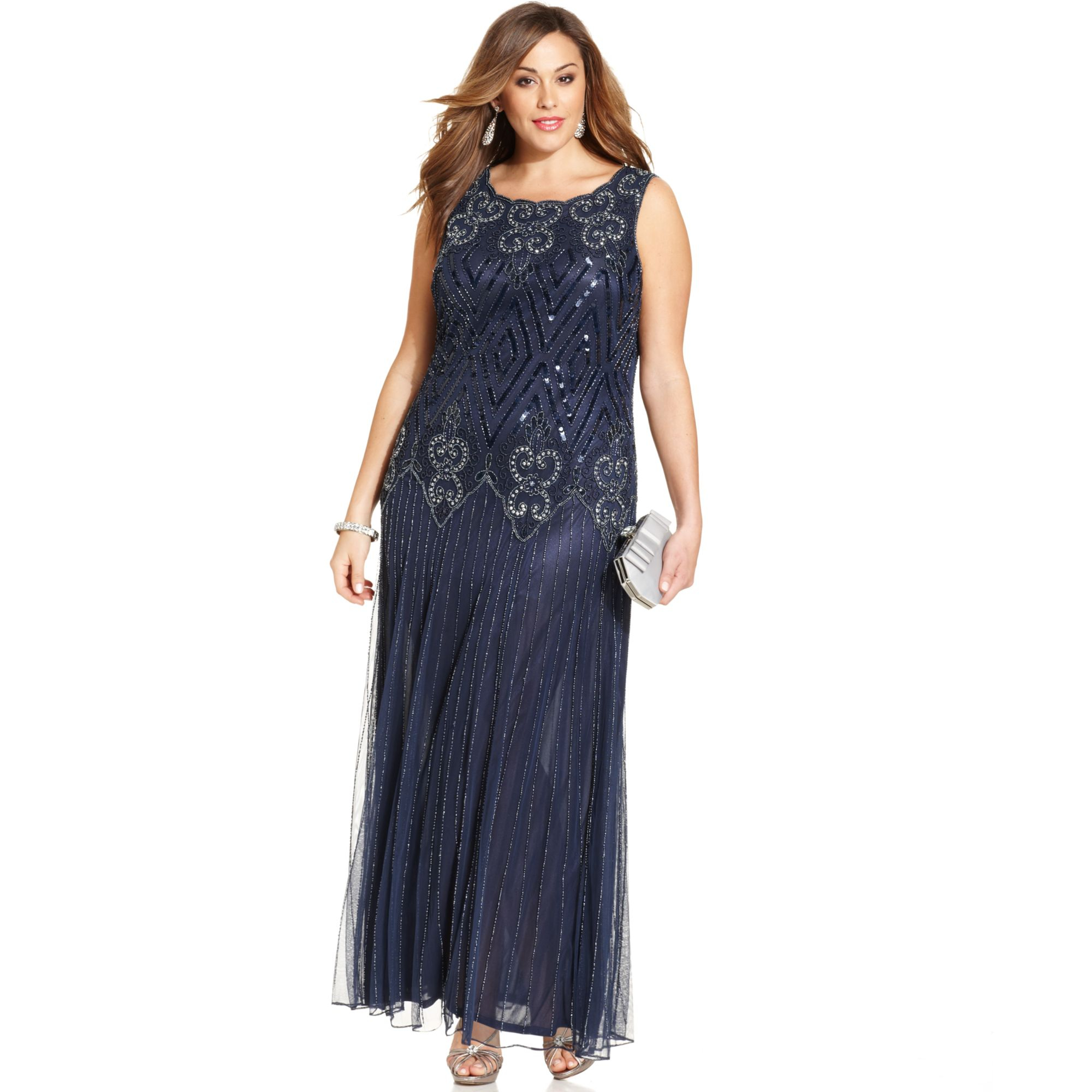 Lyst - Pisarro nights Plus Size Beaded Sequin Gown in Blue