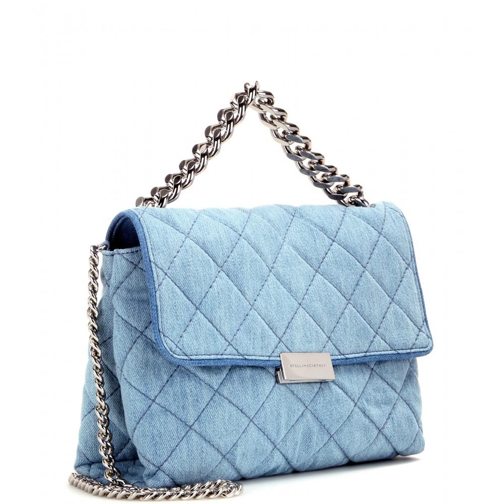8d0e1a9984e2 Lyst - Stella McCartney Soft Beckett Quilted-Denim Shoulder Bag in Blue