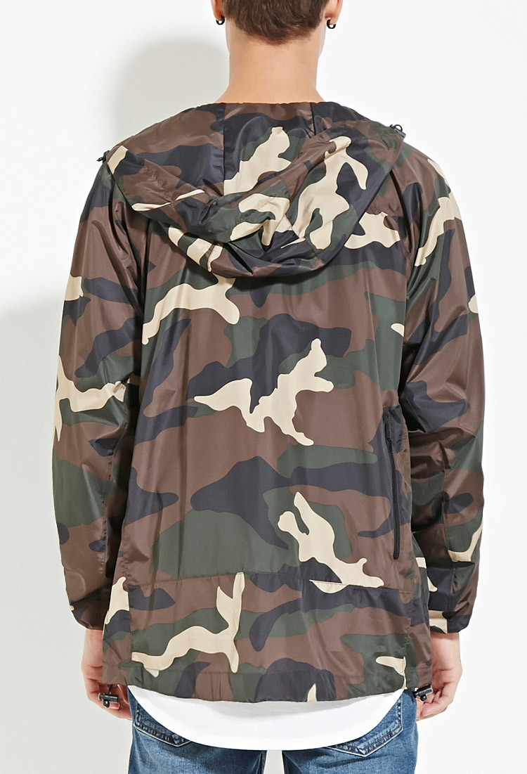 290887a02b09d Forever 21 Camo Print Windbreaker in Black for Men - Lyst