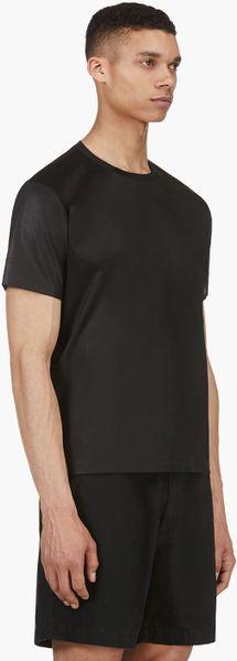 T By Alexander Wang Black Satin Logo T Shirt In Black For
