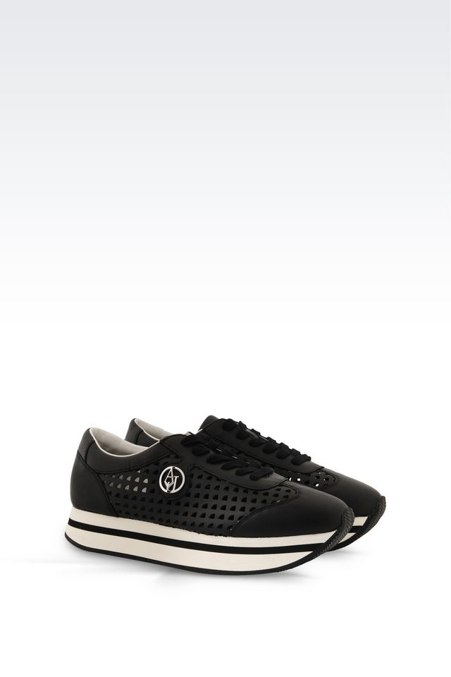 armani jeans sneaker in perforated leather in black lyst. Black Bedroom Furniture Sets. Home Design Ideas