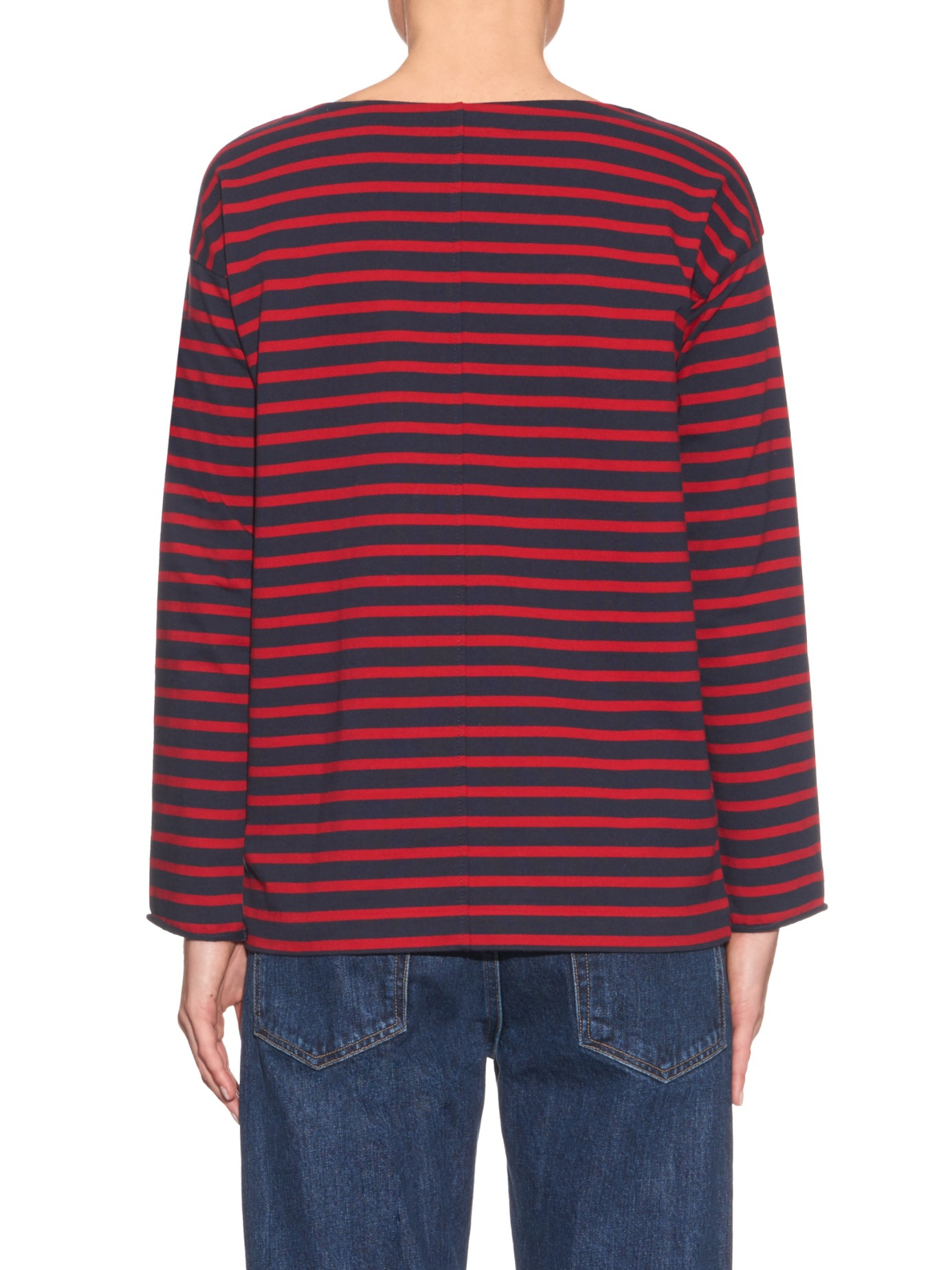 M i h jeans slouch striped long sleeved t shirt in blue lyst for Navy blue striped long sleeve shirt