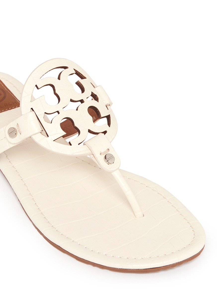 19fef447ff0a Lyst - Tory Burch  miller  Crocodile Print Thong Sandals in White