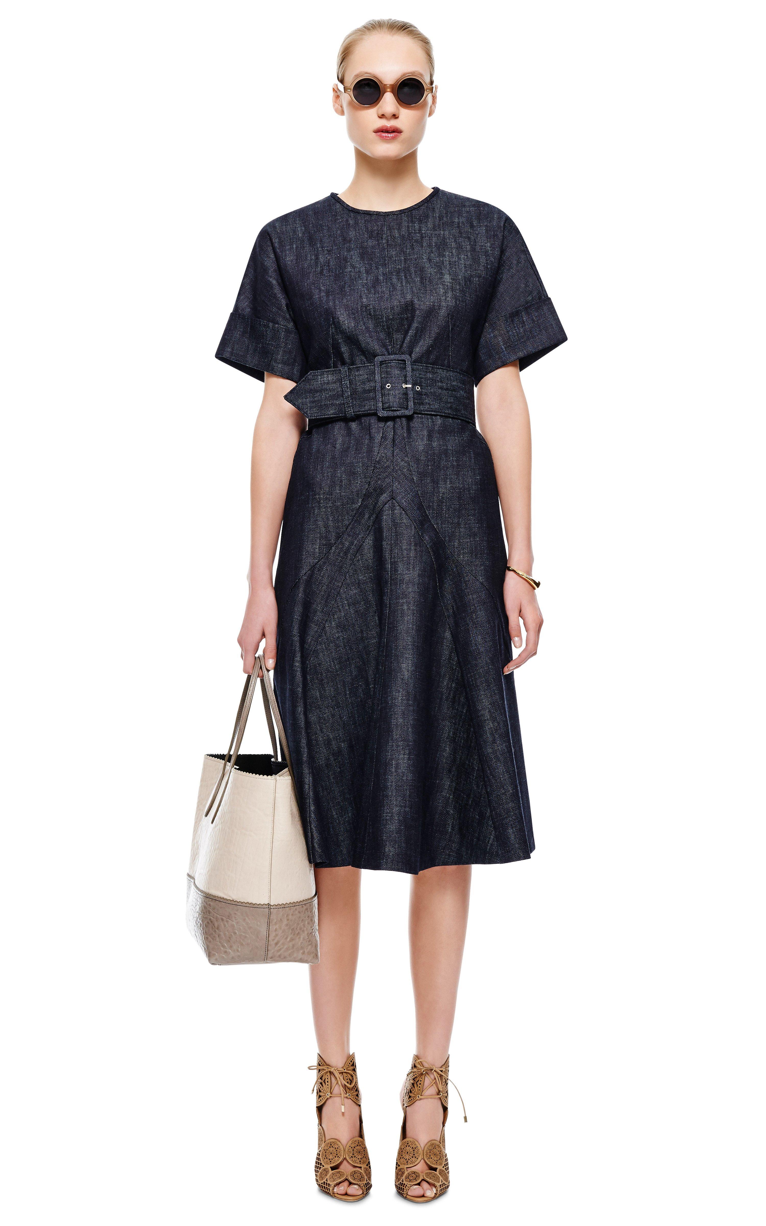 derek lam belted denim dress in blue indigo lyst