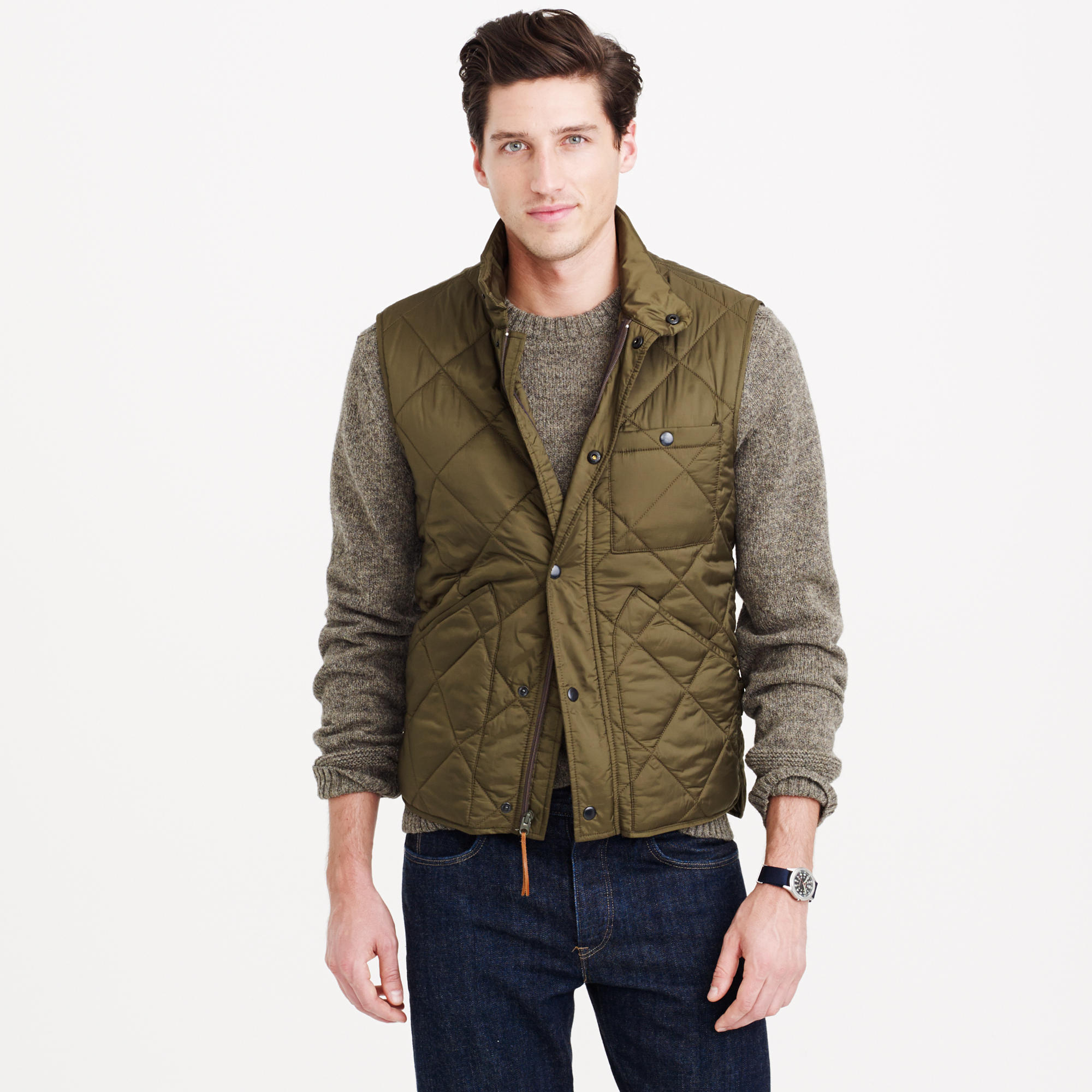 J Crew Nylon Sussex Quilted Vest In Green For Men Lyst