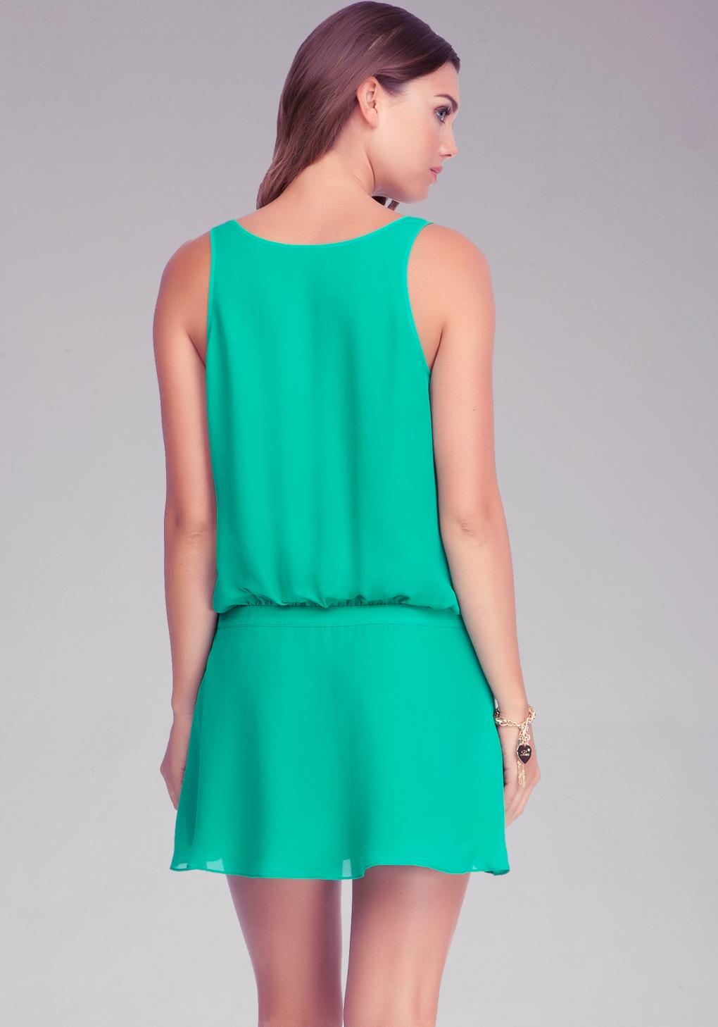 Lyst Bebe Drop Waist Pleated Silk Dress In Green