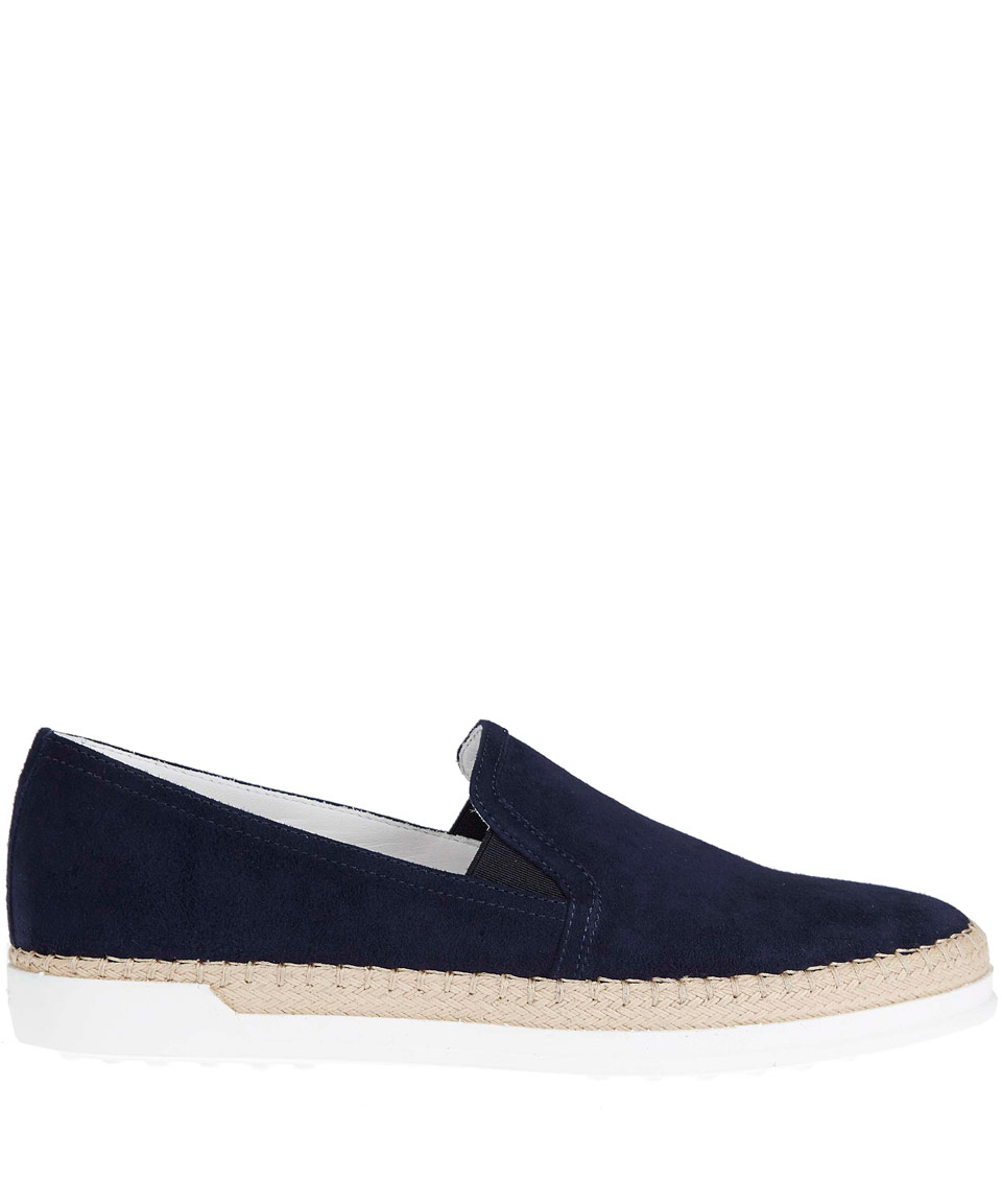 tod s navy gomma raffia suede slip on shoes in blue lyst