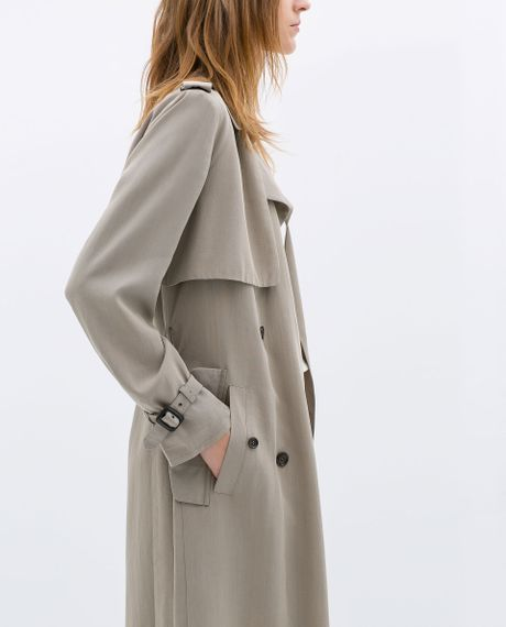 zara long aline trench coat in gray taupe grey lyst. Black Bedroom Furniture Sets. Home Design Ideas