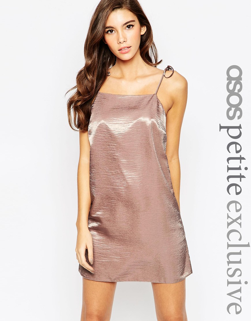 decfefb5eb0f ASOS Exclusive Satin Mini Cami Dress With 90s High Neck & Tie Straps ...