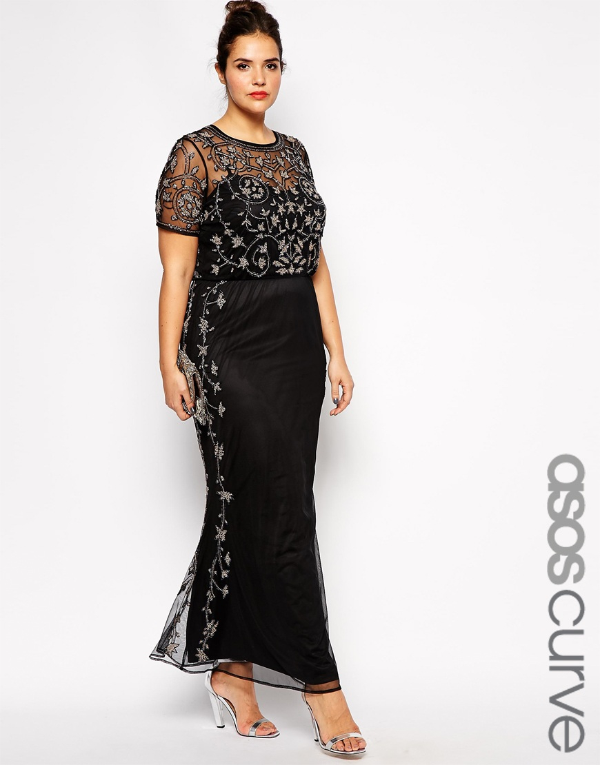 Asos Curve Red Carpet Pretty Embellished Maxi Dress in Black | Lyst