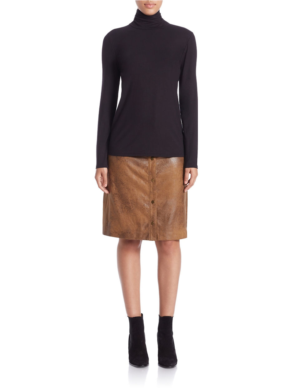 Lyst Lord Taylor Ruched Turtleneck Top In Black