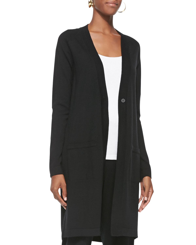 Eileen fisher Merino Wool Long-sleeve Cardigan in Black   Lyst