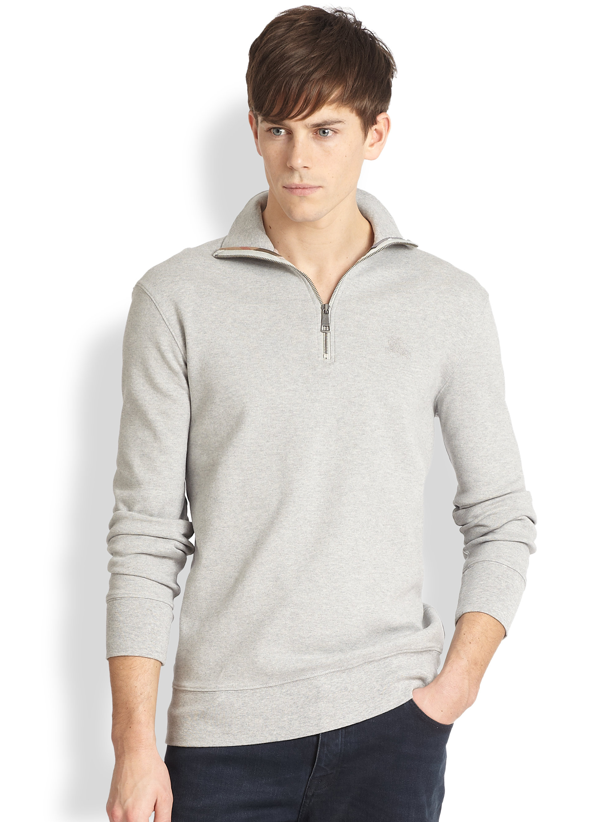 Burberry brit Admiral Jersey Half Zip Pullover in Gray for Men | Lyst