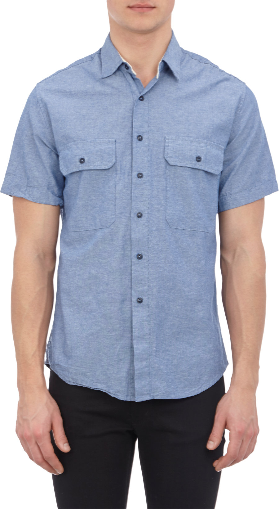 Save Khaki Chambray Short Sleeve Shirt In Blue For Men Lyst